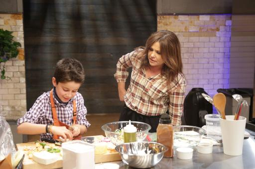 Kidtestant Nick with Host Rachael Ray on Food Network's Rachael Ray's Kids Cook-Off