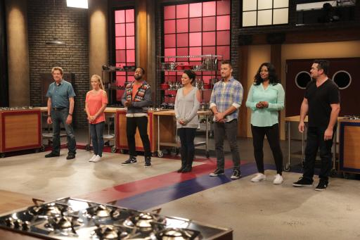 Contestants line up on Food Network's Worst Cooks in America Celebrity Edition