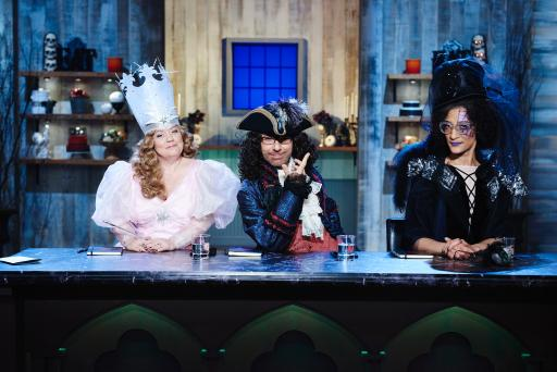 Judges Sherry Yard, Ron Ben-Israel and Carla Hall on Food Network's Halloween Baking Championship