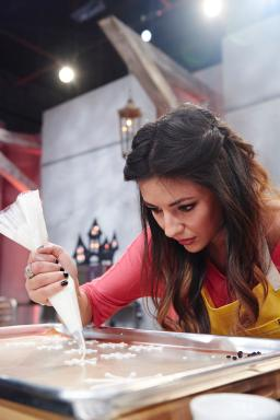Contestant Audrey Alfaro competes on Food Network's Halloween Baking Championship