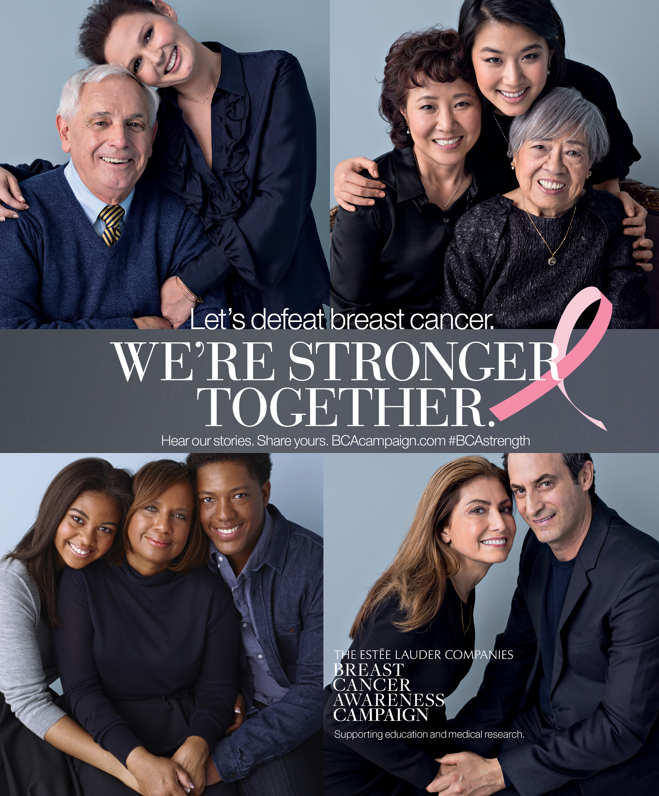 The Estée Lauder Companies' 2014 Breast Cancer Awareness Campaign  encourages people worldwide to take action in the fight against breast  cancer.