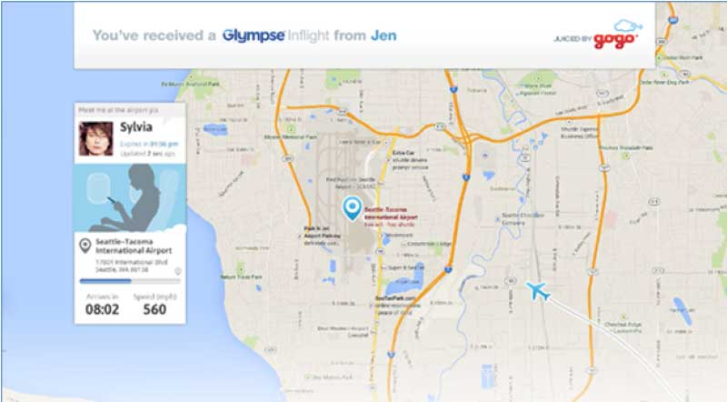 Share Your Location at 30,000 feet with Gogo and Glympse