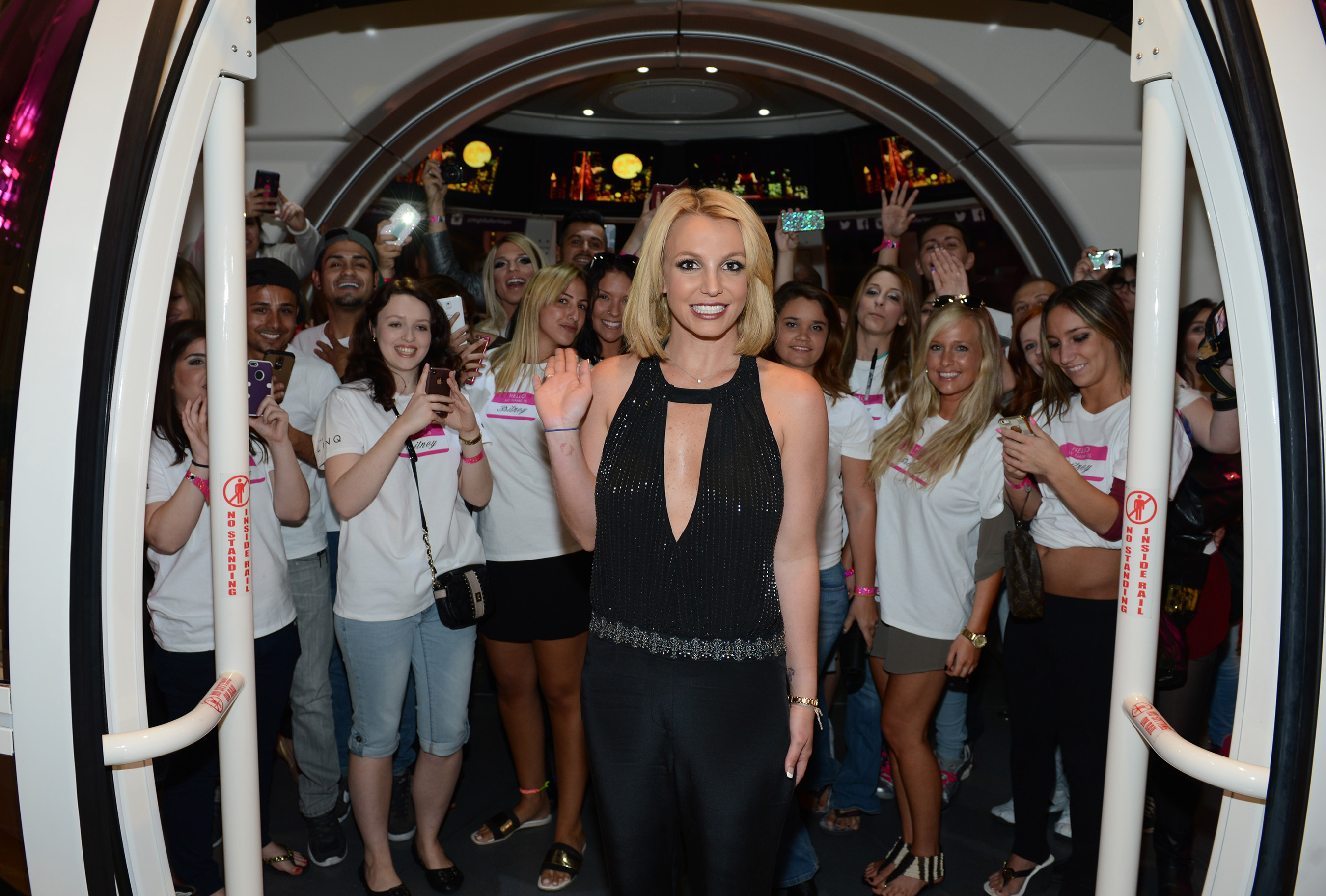 "Planet Hollywood Resort & Casino headliner Britney Spears celebrates ""Britney Day"" on the High Roller at The LINQ Promenade in Las Vegas with several of her fellow ""Britneys"" on Wednesday, November 5. Photo Credit: Denise Truscello"