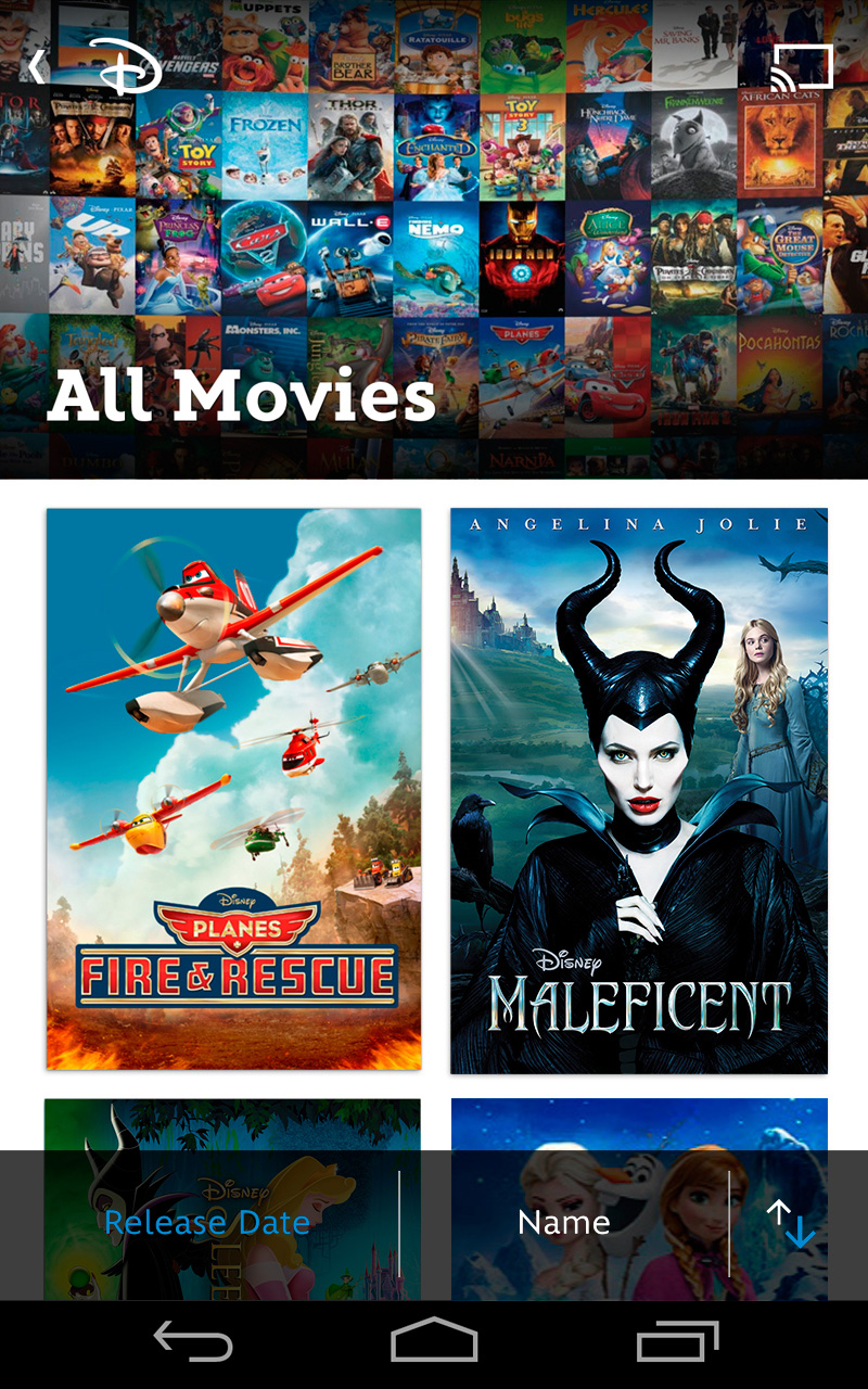 Discover new and classic Disney Movies on Disney Movies Anywhere on Android Devices via Google Play © 2014 Disney © 2014 Marvel © 2014 Disney/Pixar