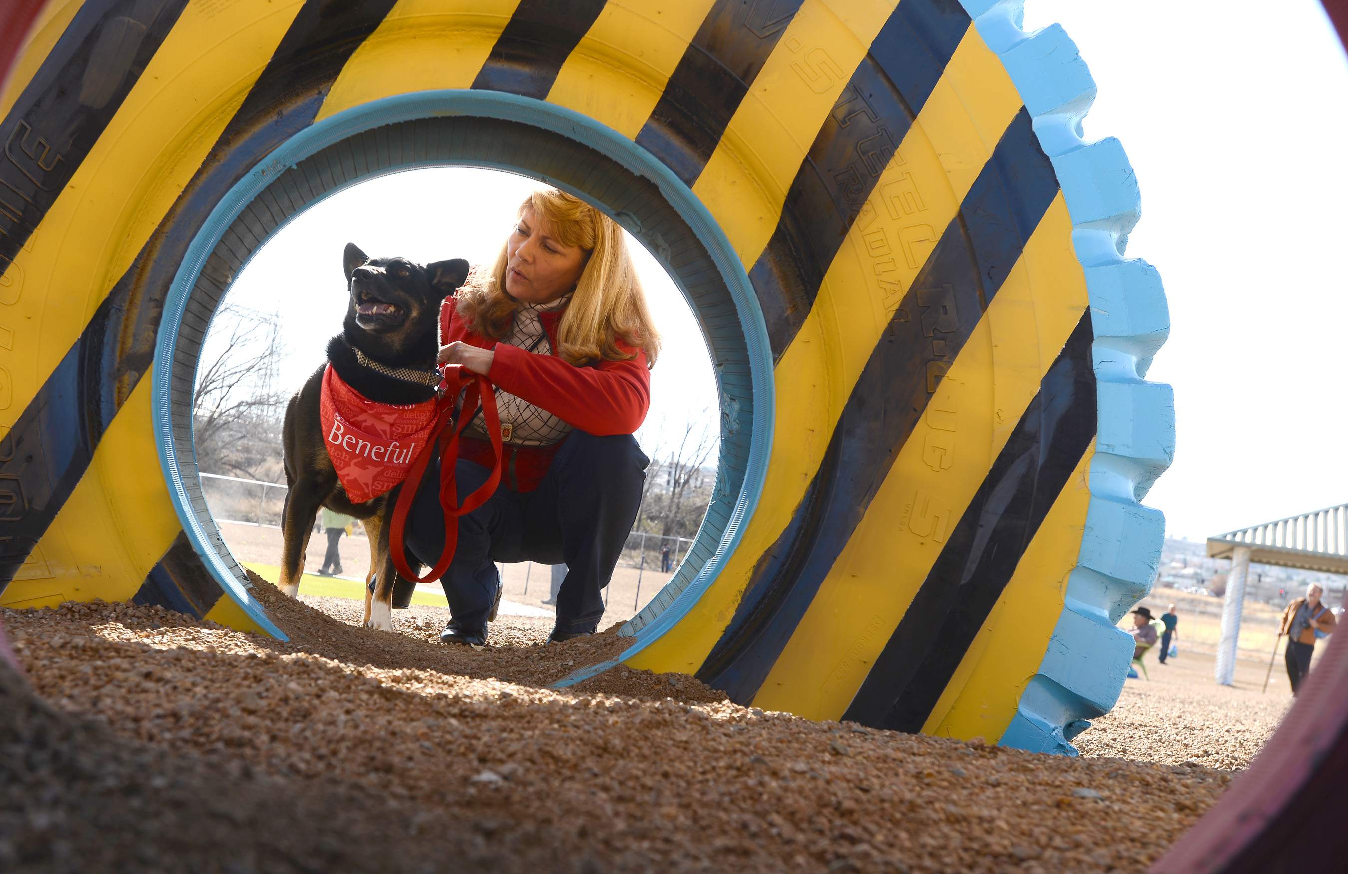 Linda Nichols, Winner of the 2013 Beneful® Dream Dog Park Contest, and her dog Callie celebrated at Willow Creek Dog Park as the fourth $500,000 Beneful Dream Dog Park renovation was unveiled on Wednesday, Dec. 10, 2014 in Prescott, Arizona. (Josh Biggs/AP Images for Beneful)