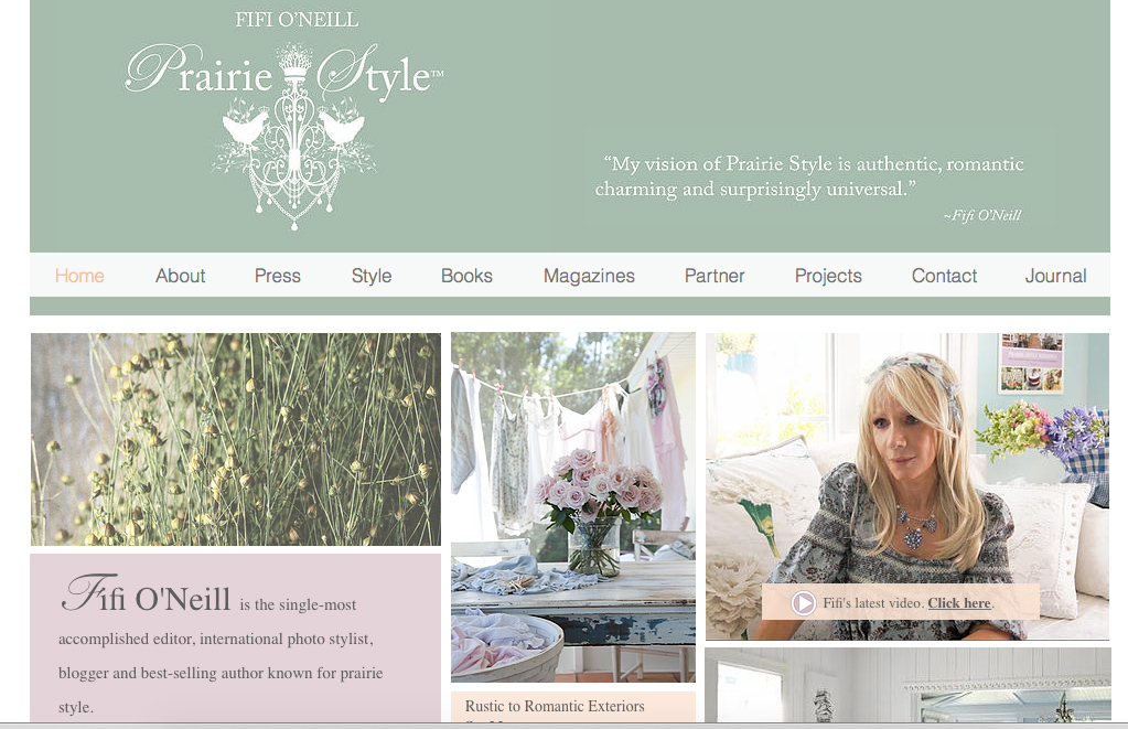 Fifi O'Neill Launches An Exciting Prairie Style Website. Visit www.fifioneillprairiestyle.com.