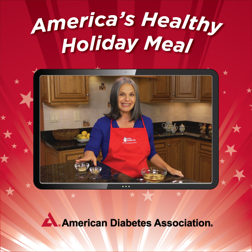 Robyn Webb, MS, LN, Food Editor of Diabetes Forecast, American Diabetes Association, cooks up America's Healthy Holiday Meal.