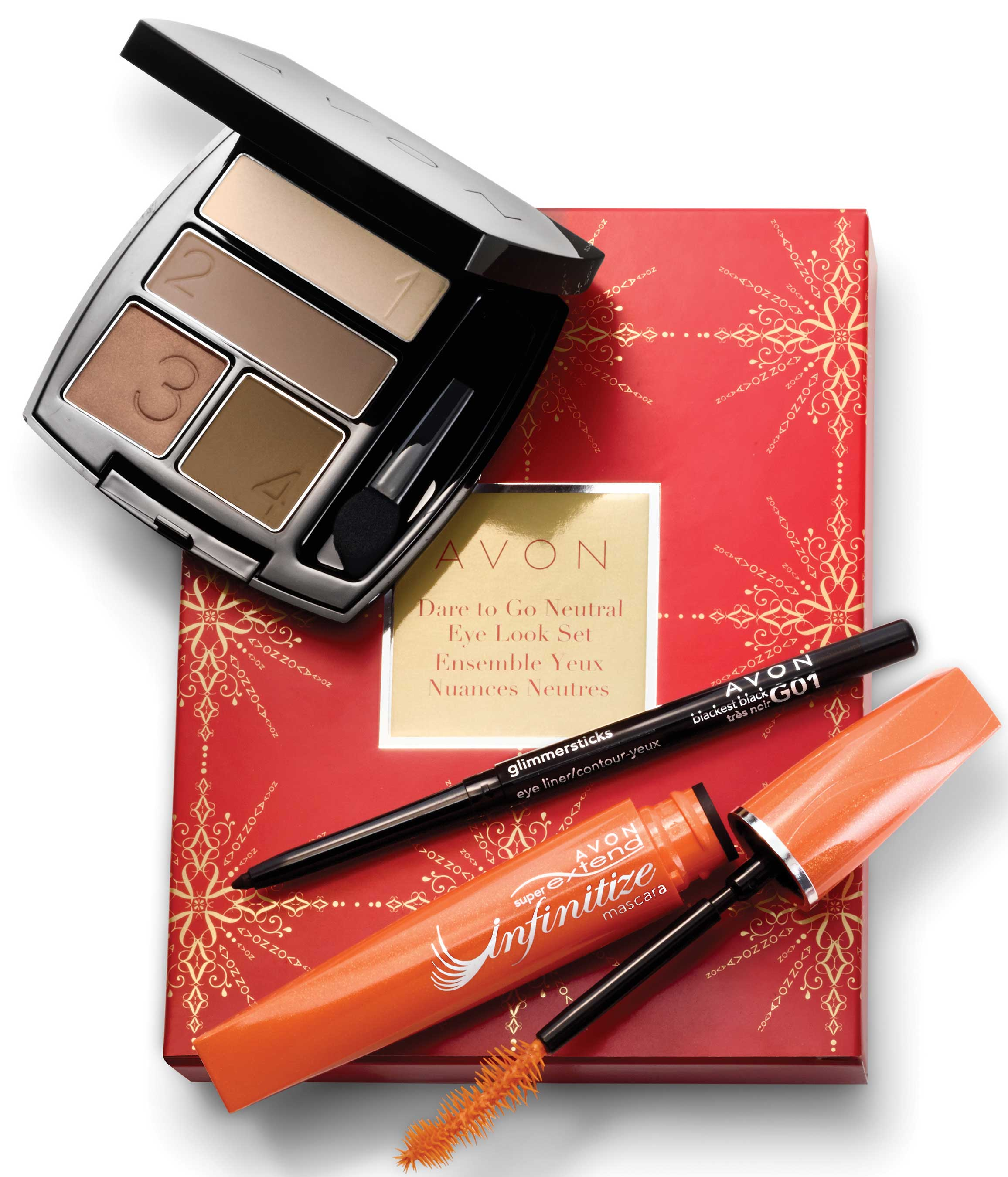 Avon Dare to Go Natural Eye Look Set: Everything you need to create a beautifully natural and sophisticated eye look. This go-to includes a True Eyeshadow Quad, Kohl Eye Liner and Mascara ($14.99).