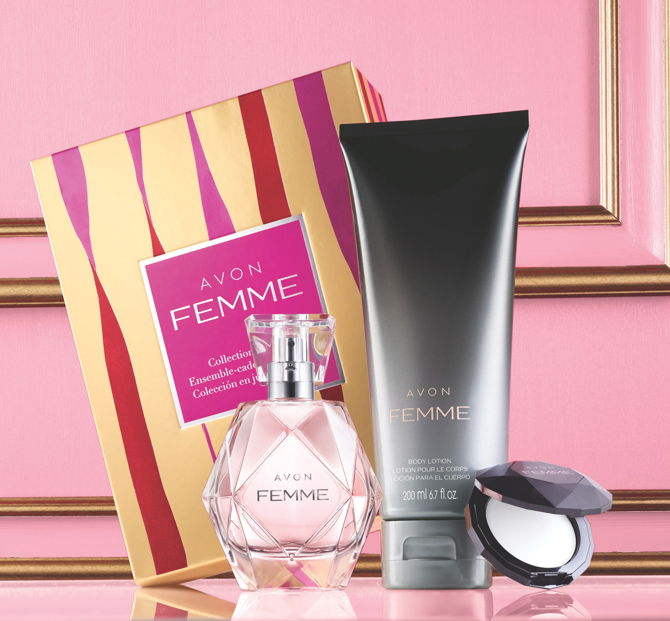 Avon Femme Fragrance Collection Gift Set: The essence of glamour is captured in an alluring blend of rich jasmine petals, magnolia and amberwoods, all packaged in a beautiful gift box. The collection includes: Eau de Parfum spray, Body Lotion and Fragrance Compact. ($30.00)