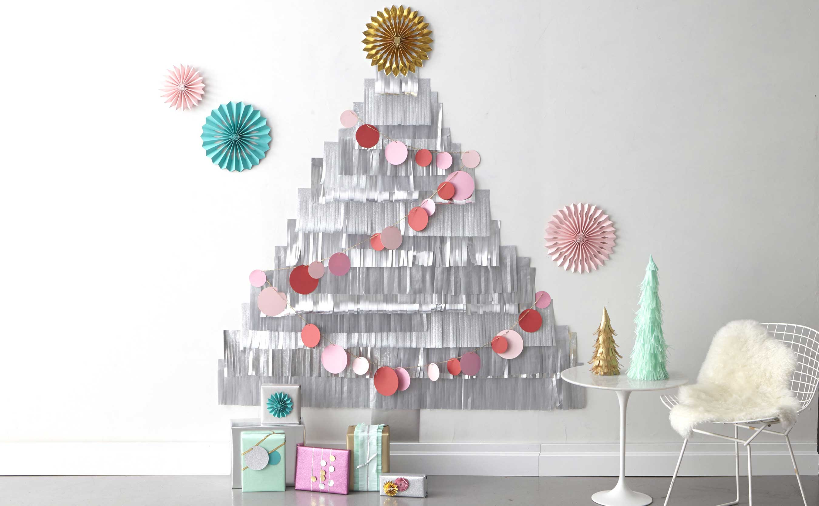 Martha Stewart Christmas Party Ideas Part - 28: Make Spirits Brighter With A DIY Fringe Tree, Circle Garland, And  Tree-topper Rosettes With Tools From Martha Stewart Crafts®.