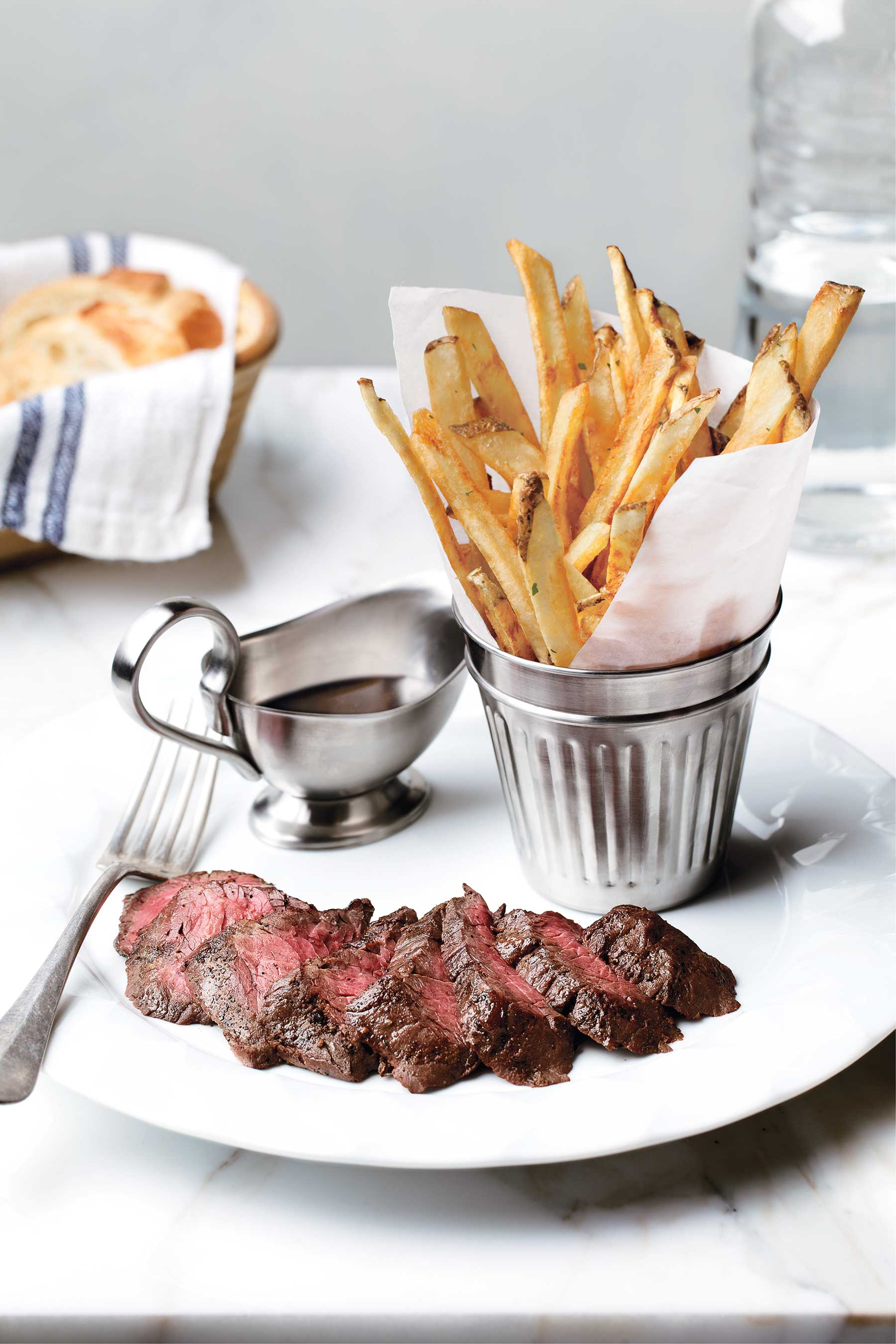 Offering the highest quality cuts of beef cooked over an oak wood and charcoal grill, BARDOT Brasserie at ARIA lets guests customize their Steak Frites with an 8 oz. Flat Iron, 12 oz. Ribeye or 8 oz. Filet Mignon topped with a choice of Bearnaise, Au Poivre, Bordelaise or Foie Gras Butter, accompanied by perfectly crispy beef fat fries.