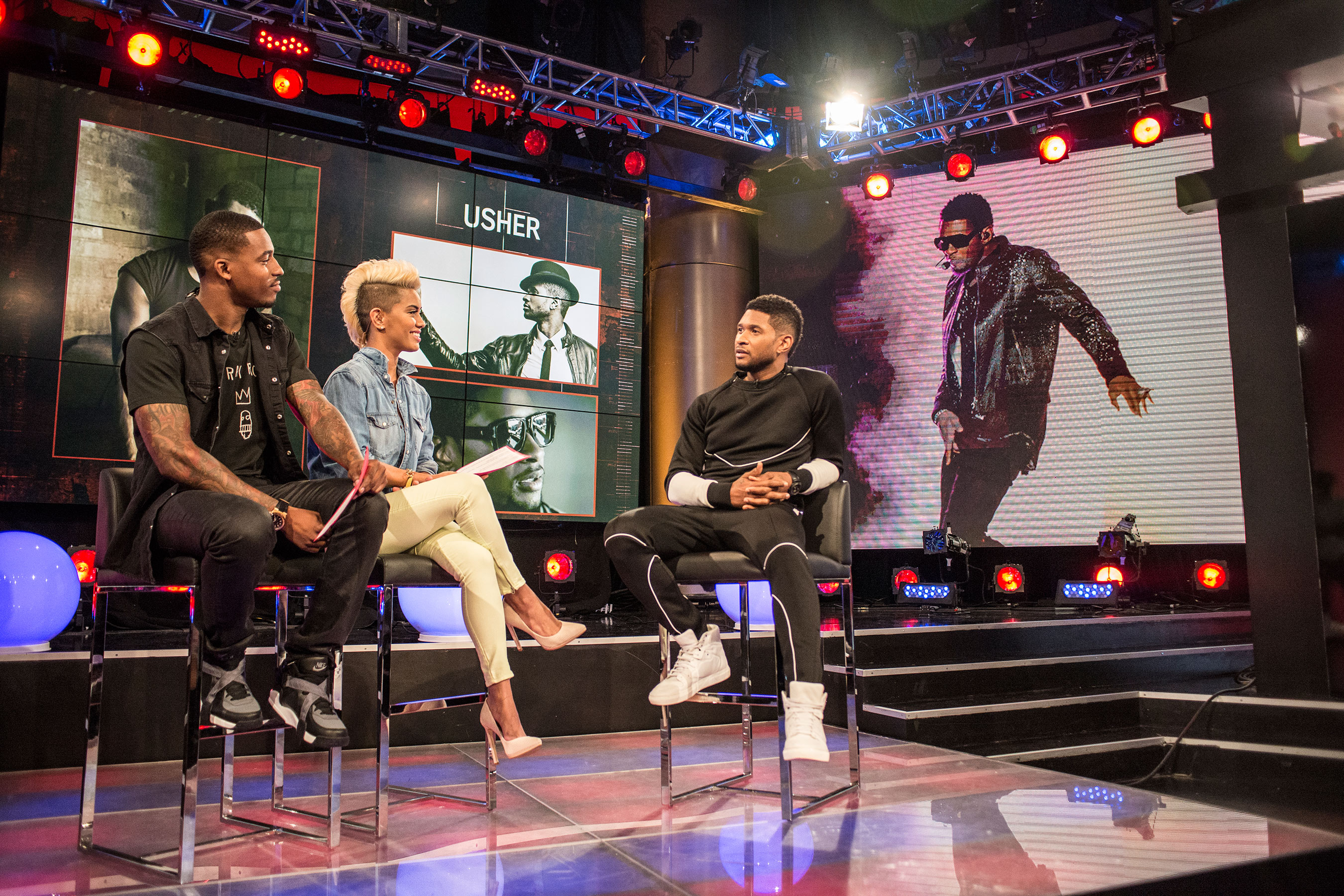 Usher talks classic and contemporary R&B with REVOLT hosts Sibley and DJ Damage, including inspiration behind newly released music.