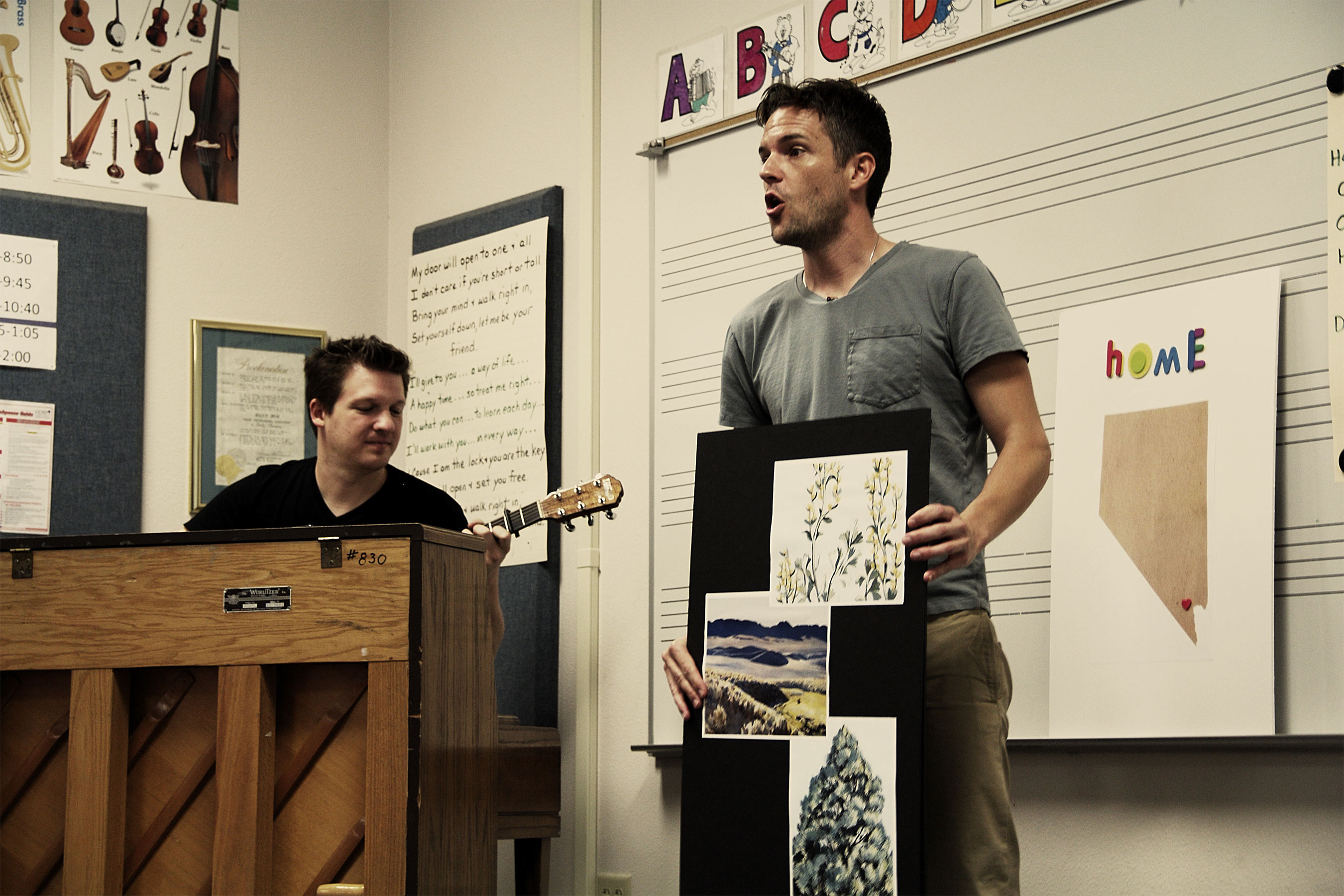 "Brandon Flowers of The Killers teaches students the state song - ""Home Means Nevada."" Photo Credit: Andrew Feiler Studio"