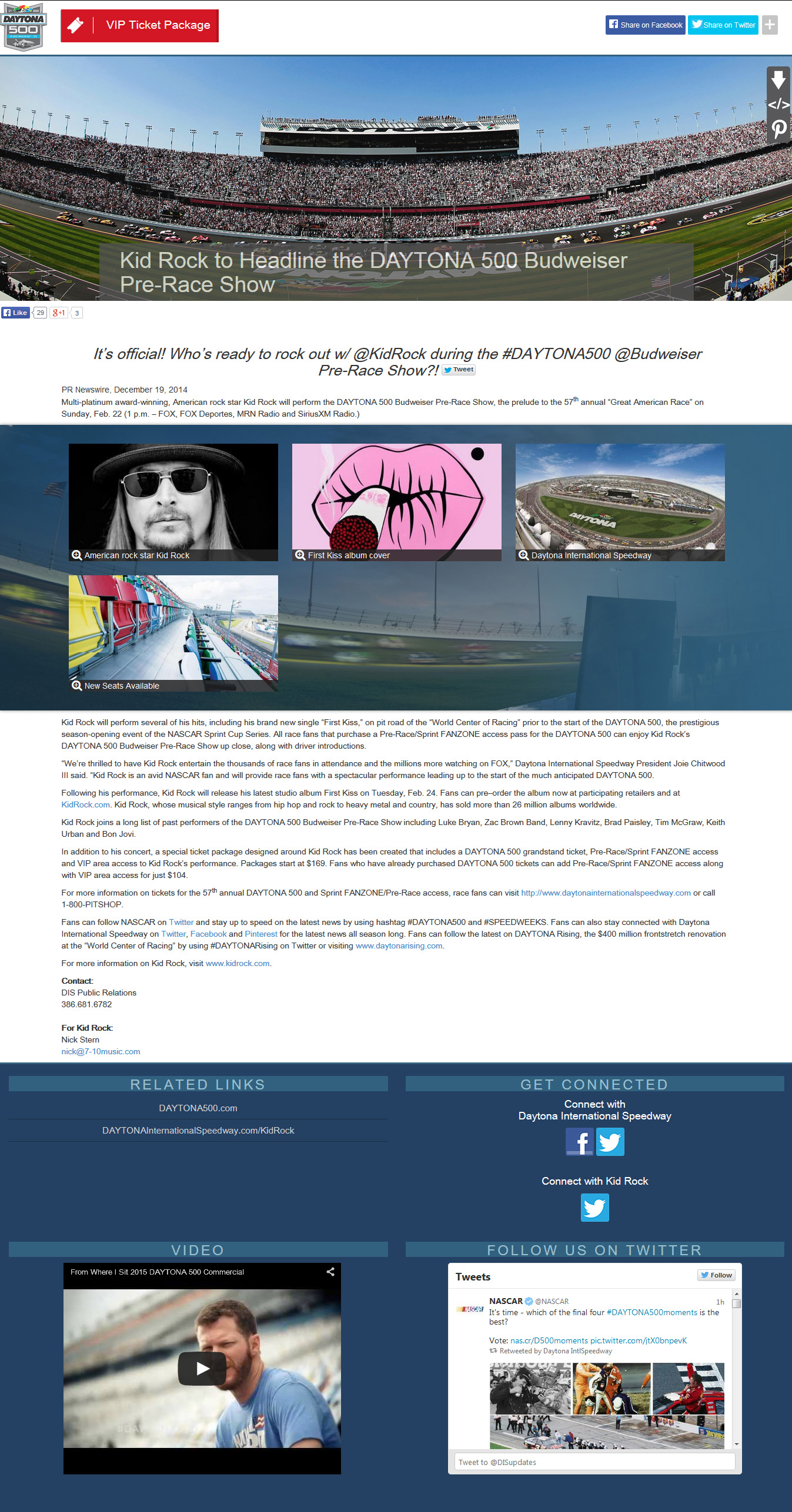 Daytona 500 promotes a headlining performance by Kid Rock using the newest Multimedia News Release design