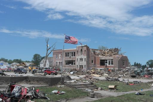 Destroyed school following tornado in Pilger NE