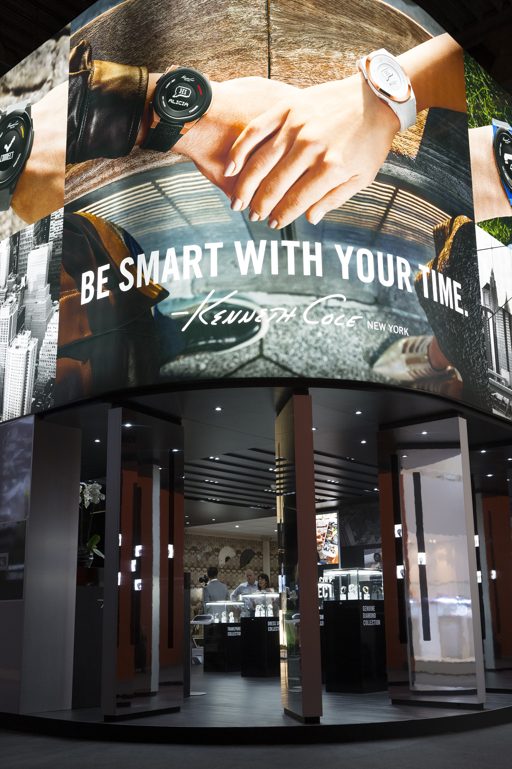 The Kenneth Cole Connect�-themed booth at Baselworld. The Kenneth Cole Connect� smart watches were first introduced to the world at the international watch and jewelry tradeshow in March.