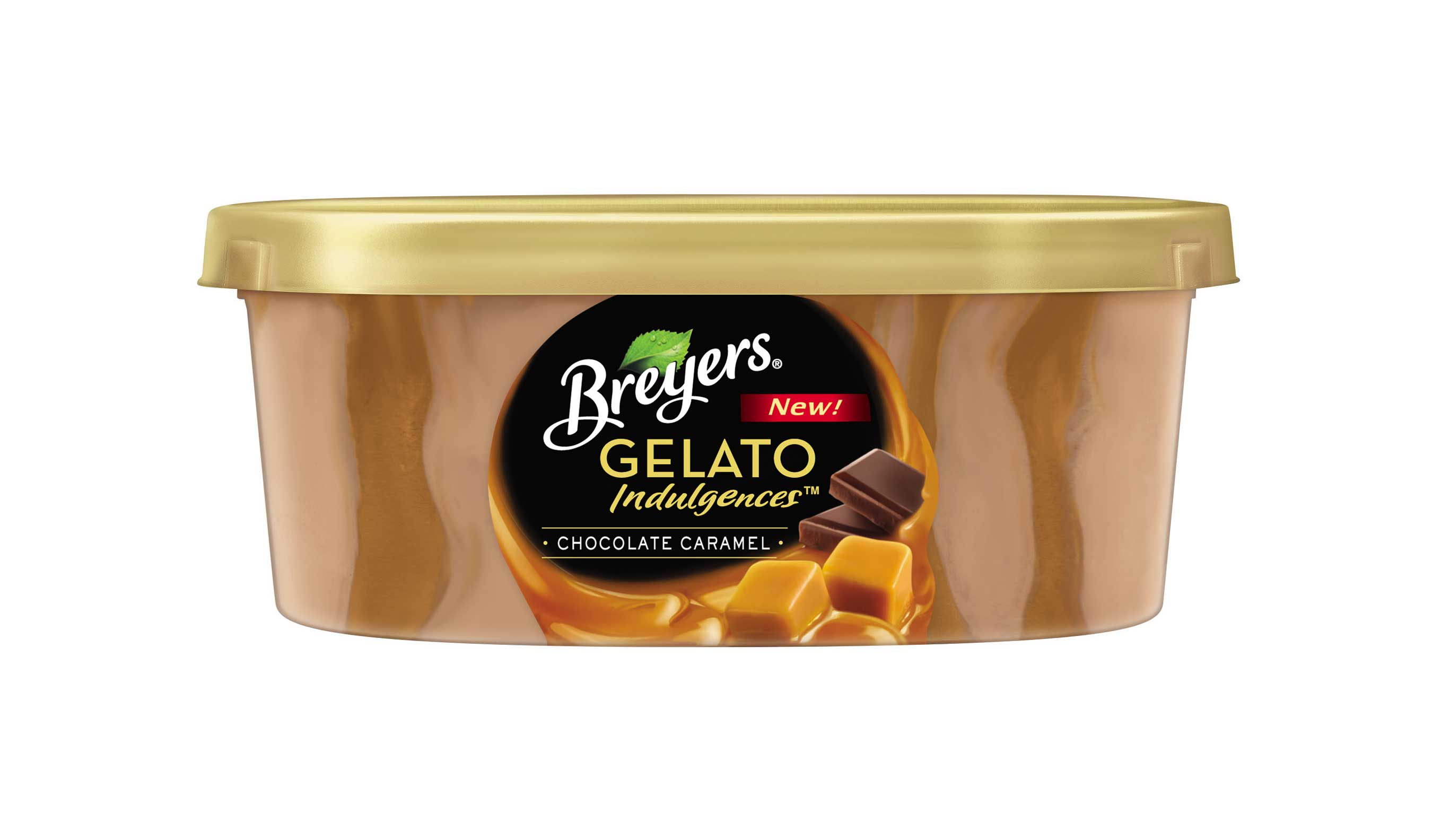 Breyers® Gelato Indulgences™ Chocolate Caramel, featuring chocolate gelato with luscious caramel sauce and gourmet chocolate curls, will be available this April.