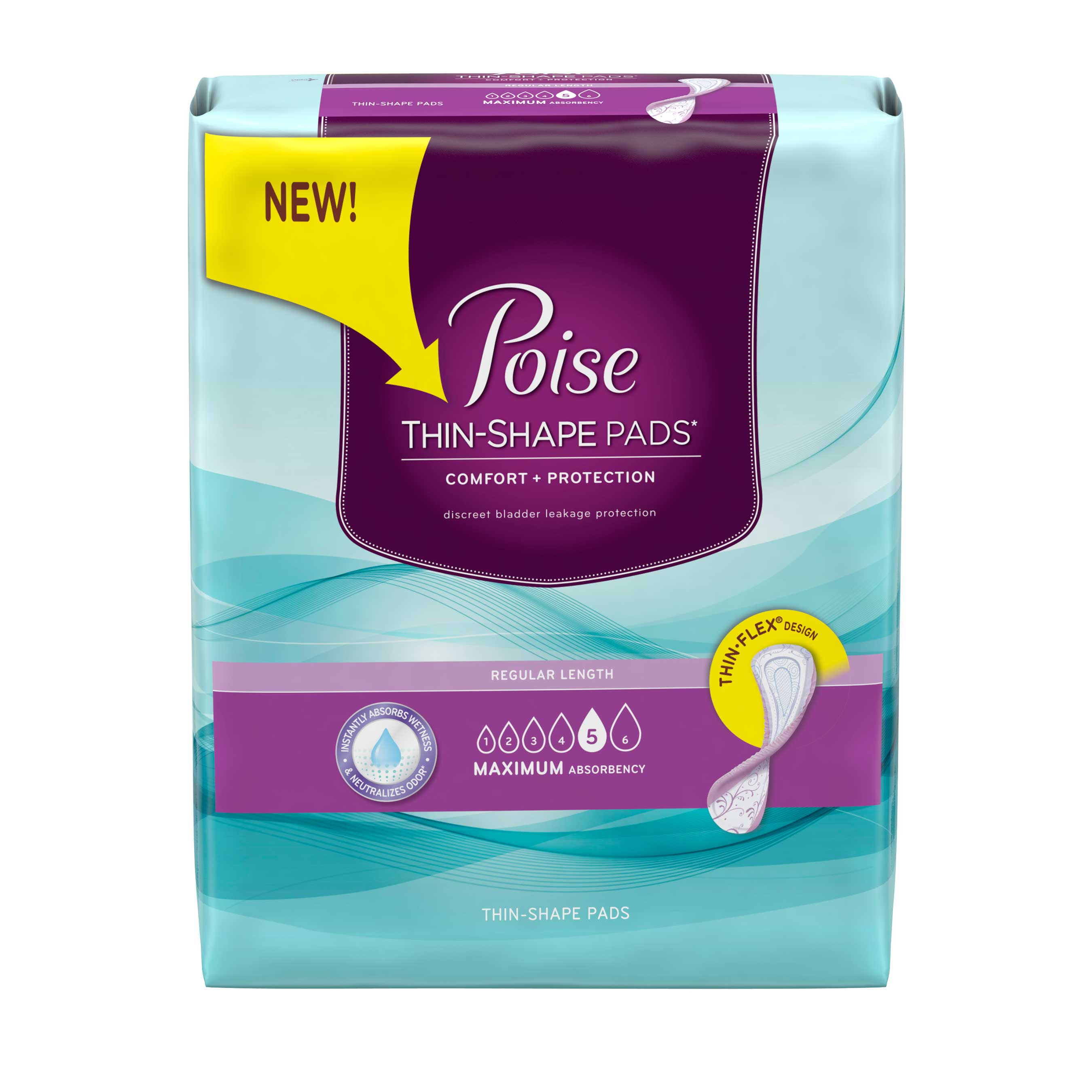 New Poise Thin-Shape pads, which are specifically designed for light bladder leakage, are up to 40% thinner than original Poise brand pads and feature a Thin-Flex design for extraordinary protection.
