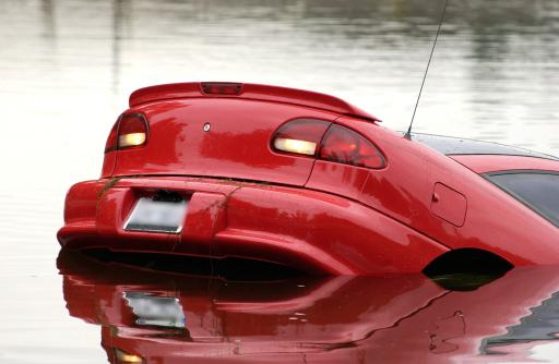 Car sinking in high water