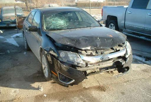 Sedan involved in a collision with a deer
