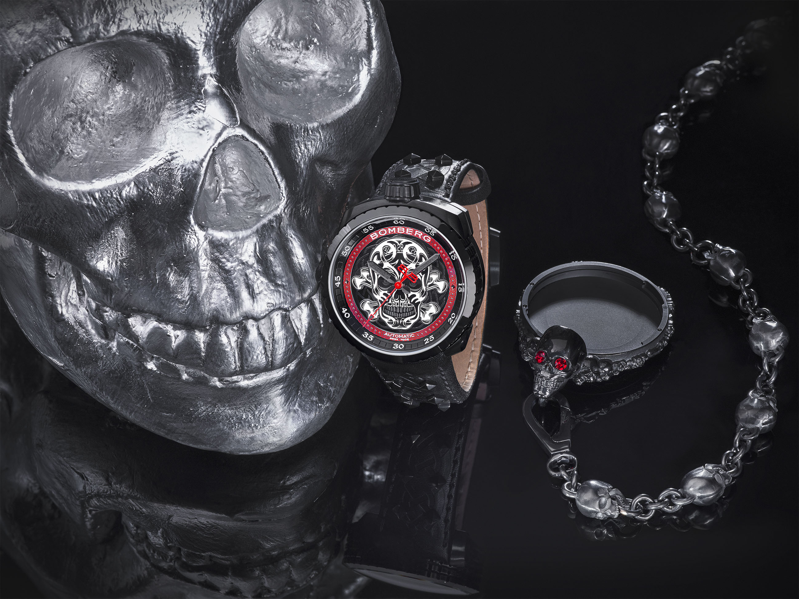shop bolt nails watches edition punk badass grey steel skull limited silver bomberg front