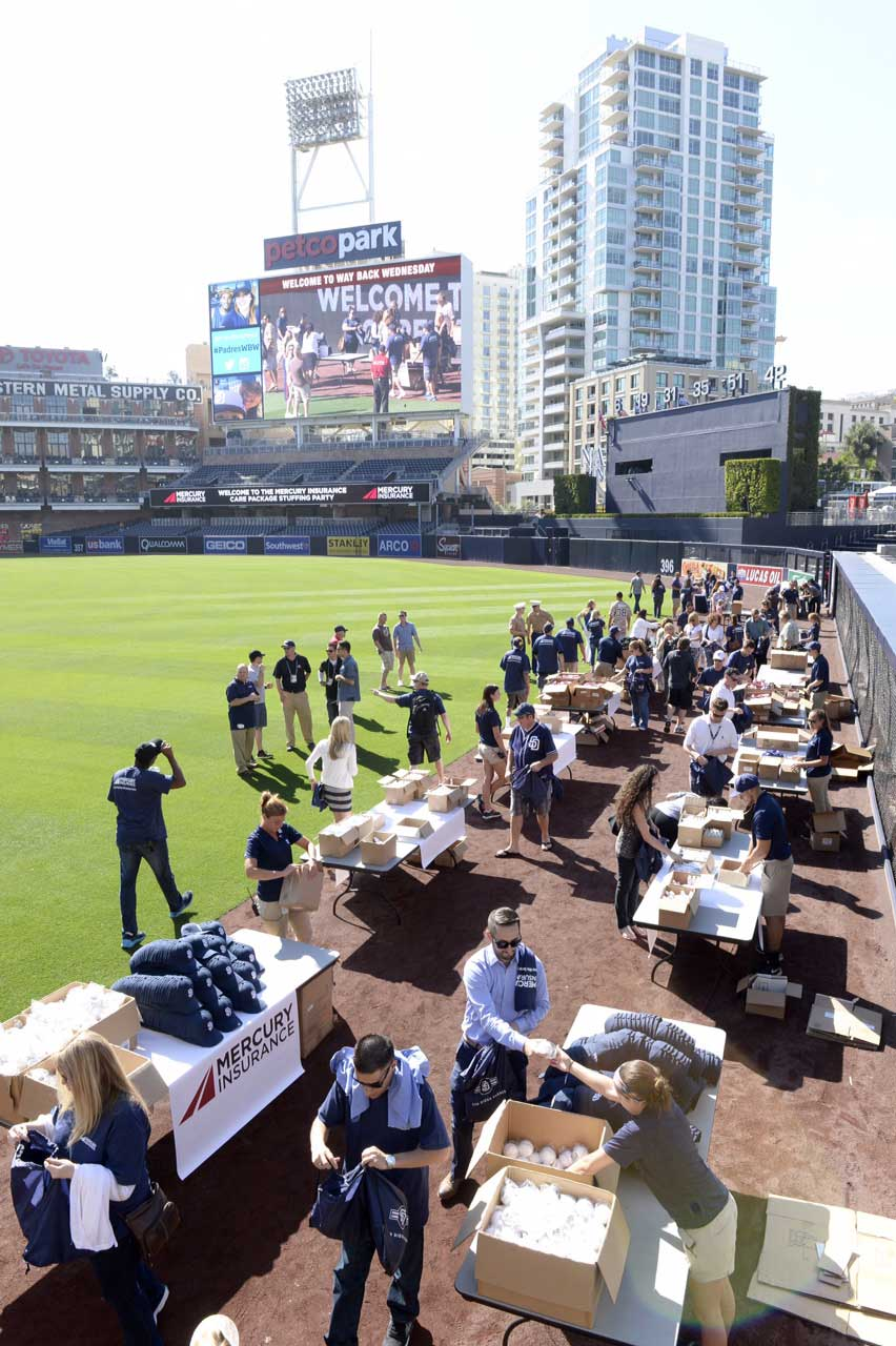 "MLB's S.D. Padres and Mercury Insurance partnered for second year in a row to host a ""packing party"" to assemble 1,000 care packages for Marines and Sailors from I Marine Expeditionary Force, Camp Pendleton California."