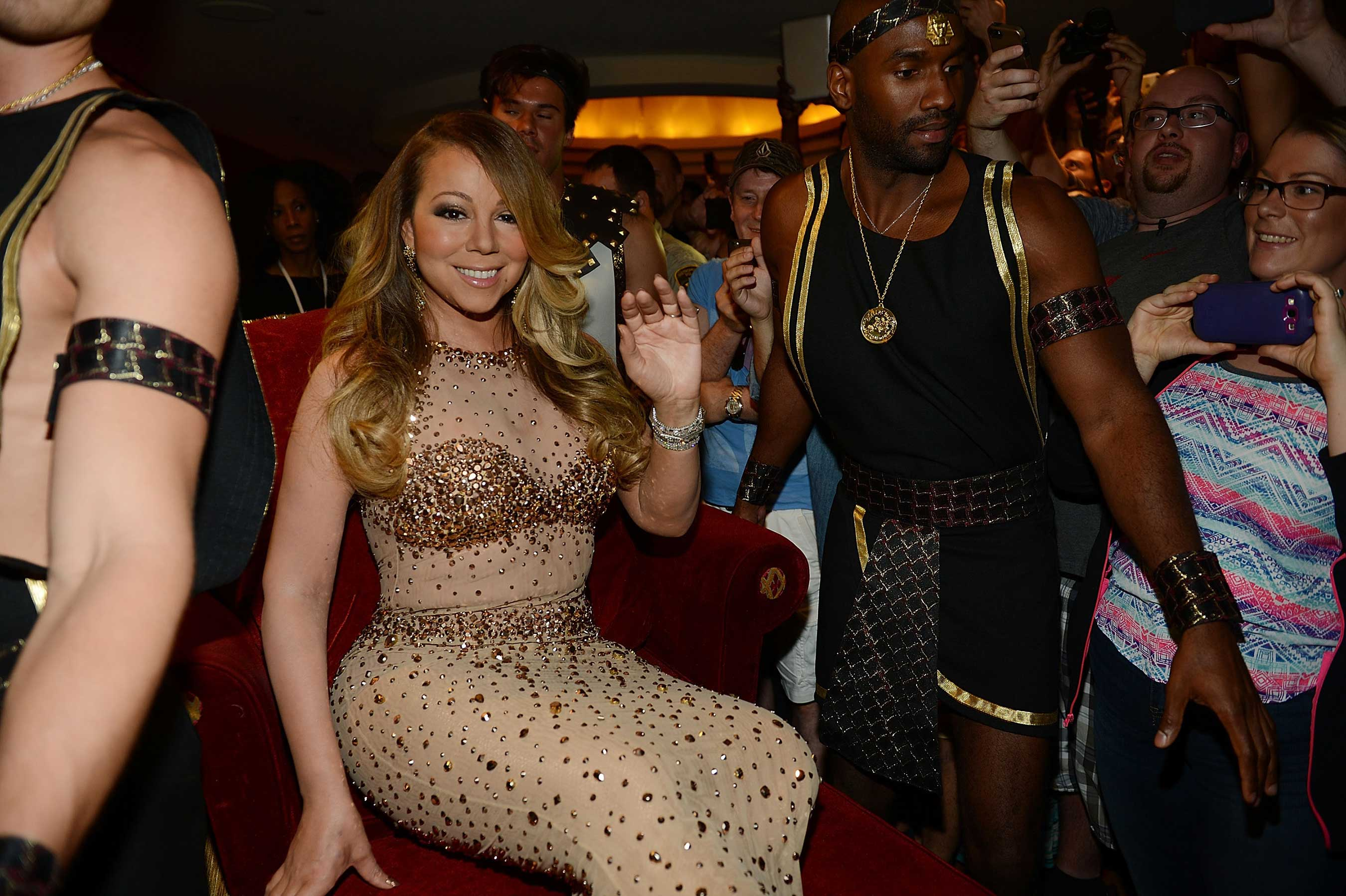 Mariah Carey, the best-selling female artist of all time, made her grand entrance to her new home at The Colosseum at Caesars Palace in Las Vegas on Monday, April 27. Photo Credit: Denise Truscello