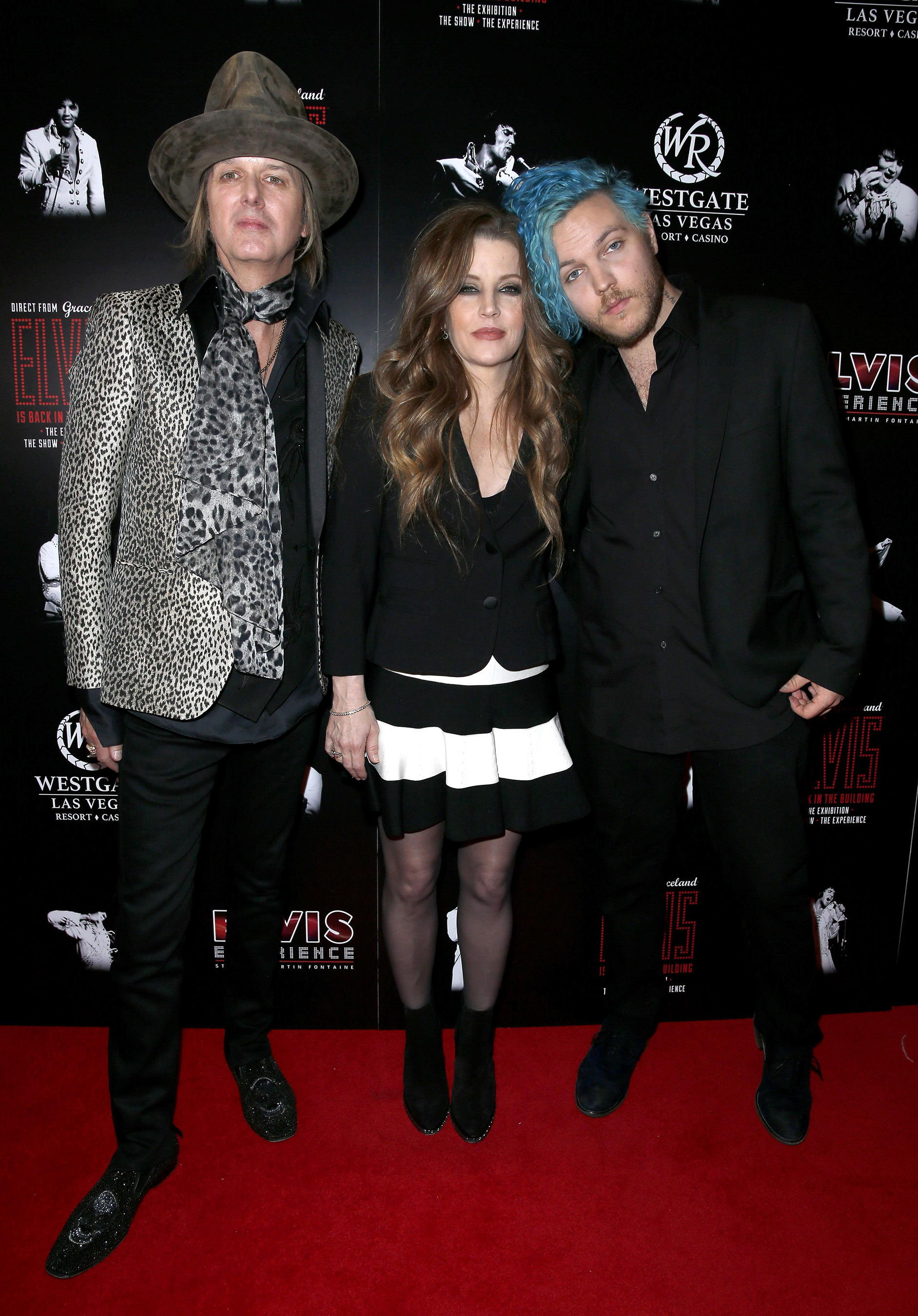 """Lisa Marie Presley and husband Michael Lockwood attend the red carpet premiere of """"The Elvis Experience"""" musical production with Lisa Marie's son and Elvis' grandson, musician Benjamin Keough."""