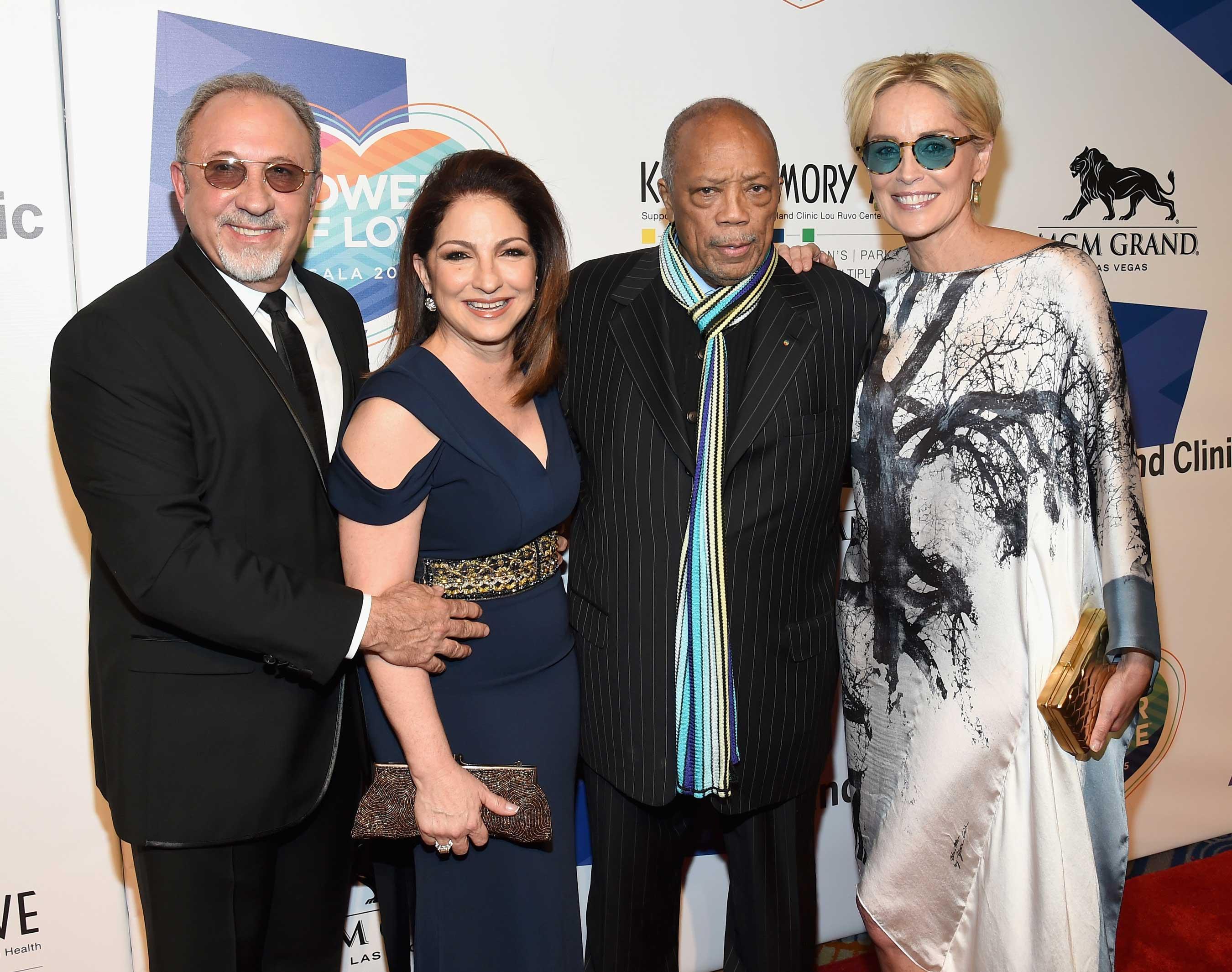 Gloria and Emilio Estefan, Quincy Jones & Sharon Stone at Keep Memory Alive's Power of Love Gala (E Miller June 13, 2015)