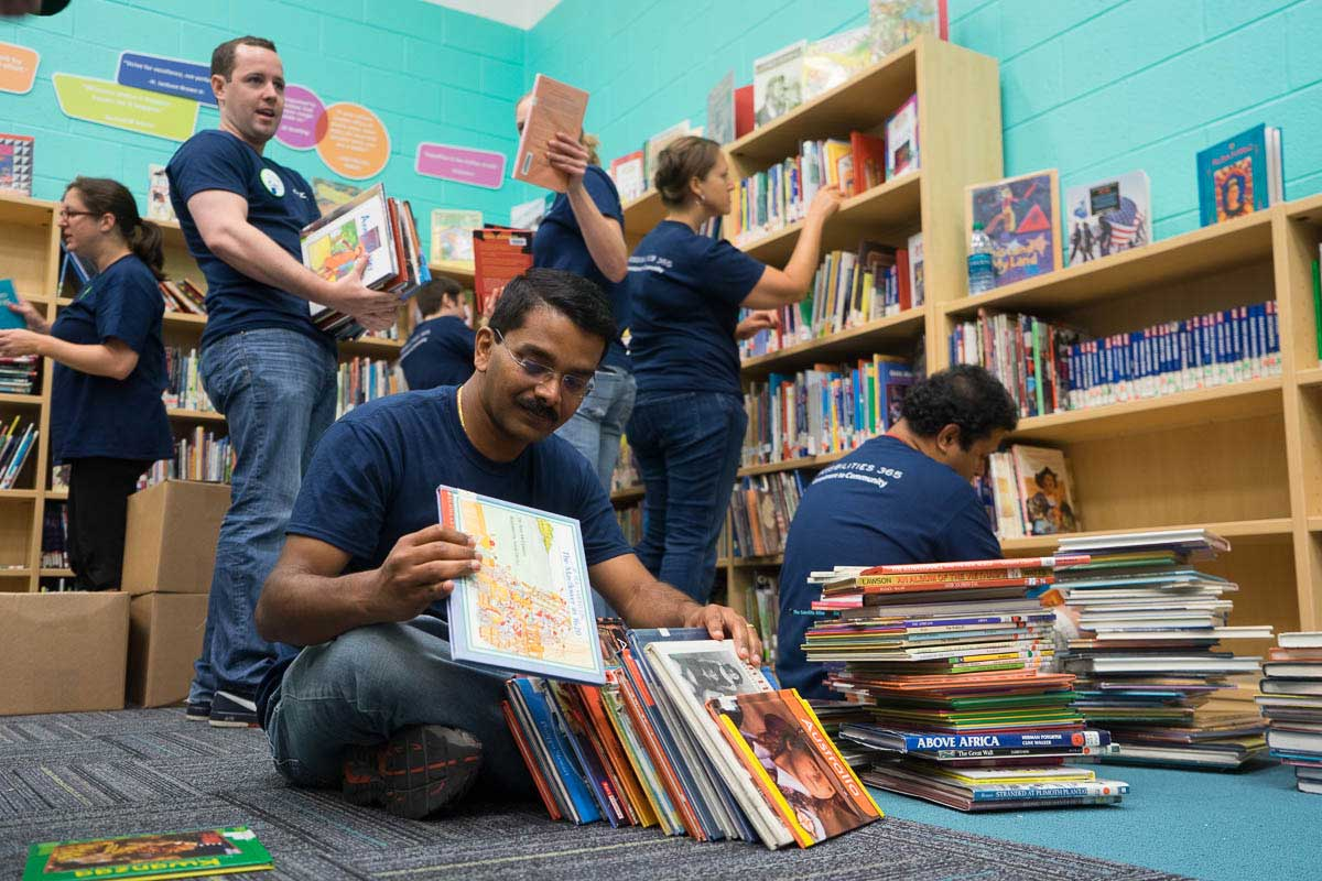 AbbVie volunteers will renovate libraries, paint classrooms, build playgrounds and more.