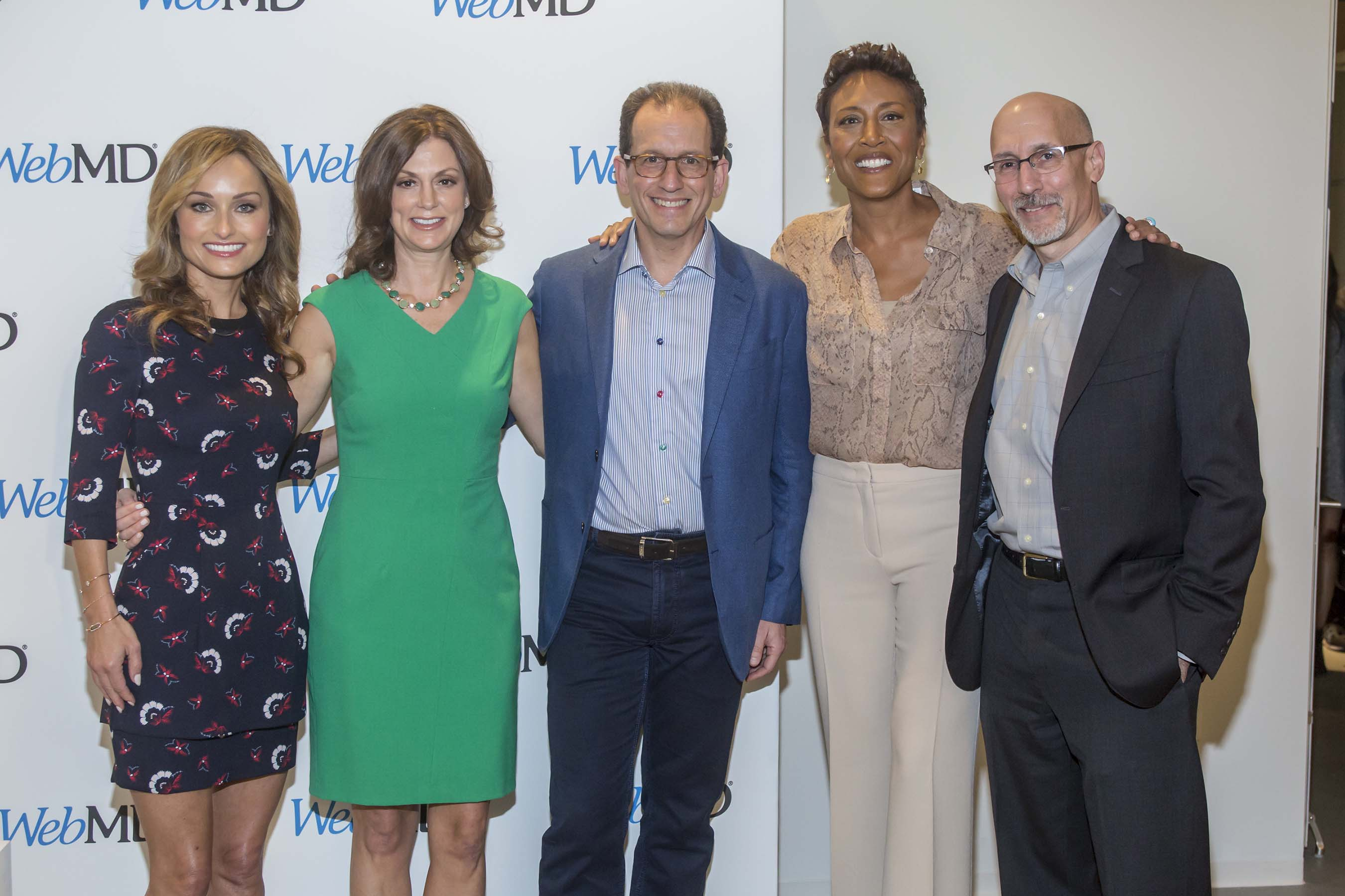 Giada De Laurentiis, WebMD Editor-in-Chief Kristy Hammam, WebMD CEO David Schlanger, Robin Roberts and WebMD President Steve Zatz at WebMD's first-ever Digital Content NewFront presentation in New York City.