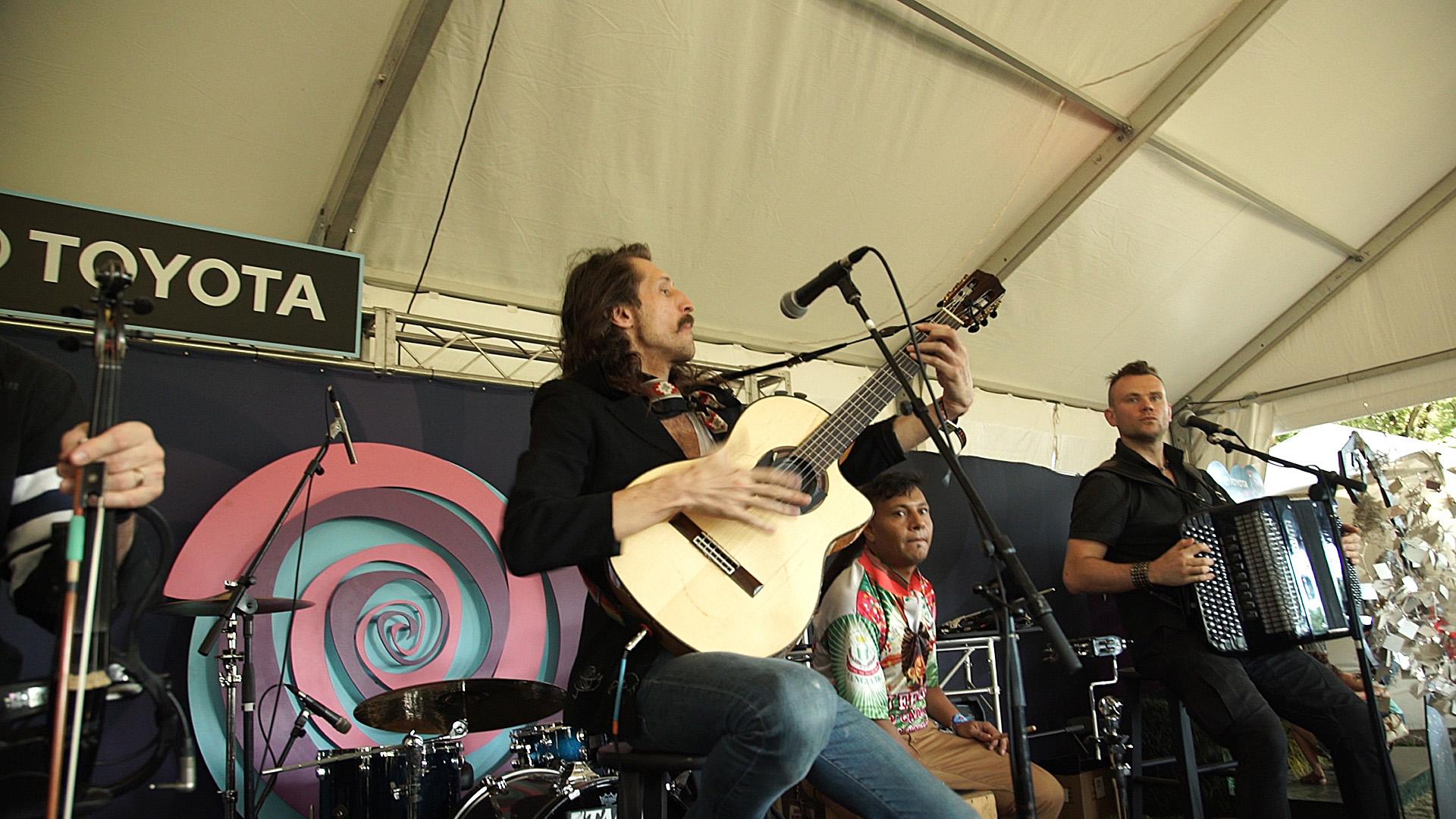 Gypsy punk band, Gogol Bordello, perform on Toyota stage