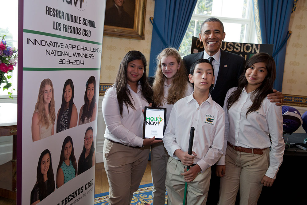 "Winners of the 2014 Verizon Innovative App Challenge for designing the ""Hello Navi"" app to help their blind classmate navigate around school. They shared their app at the White House Science Fair."