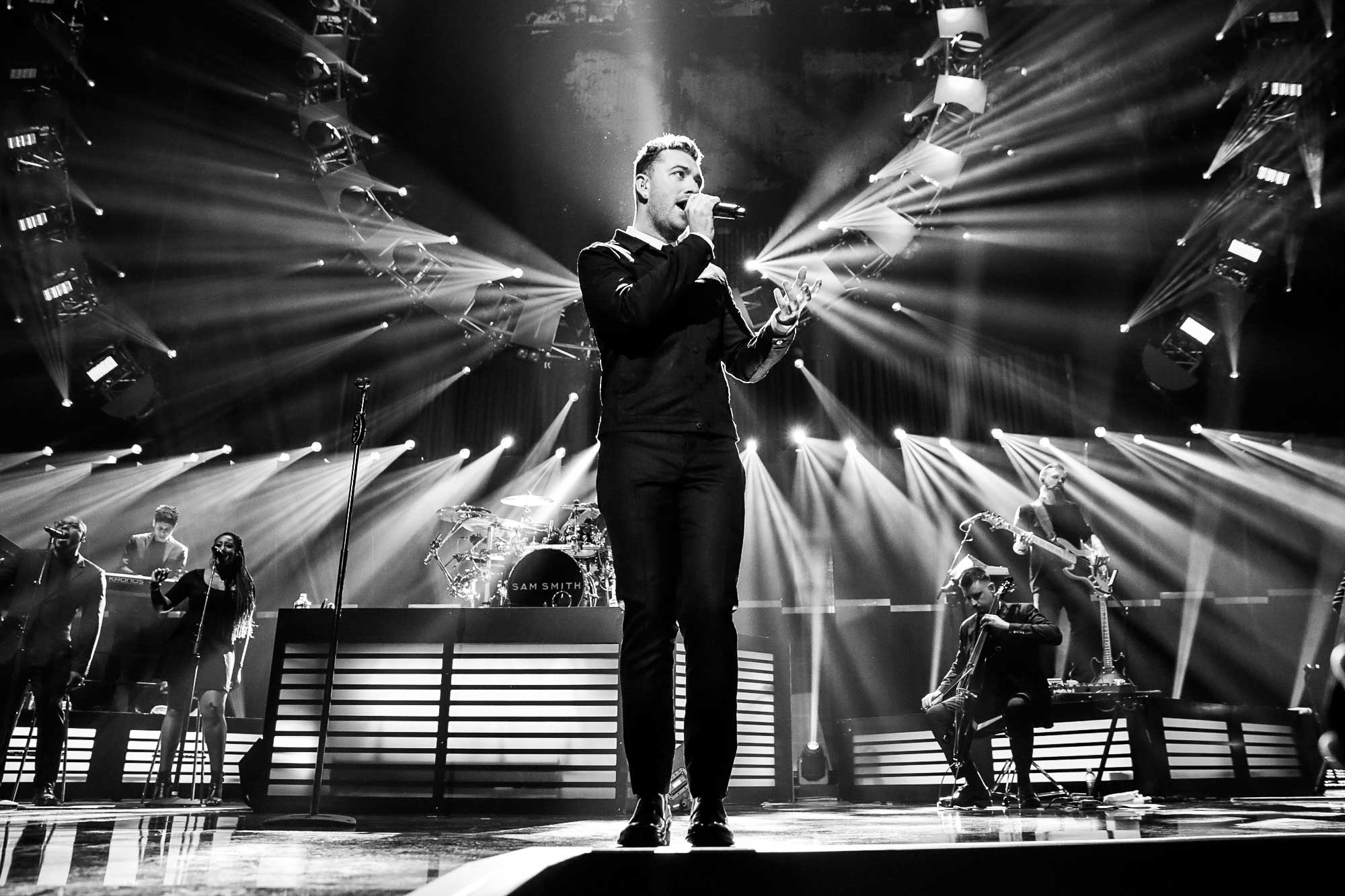 Sam Smith onstage at the iHeartRadio Music Festival