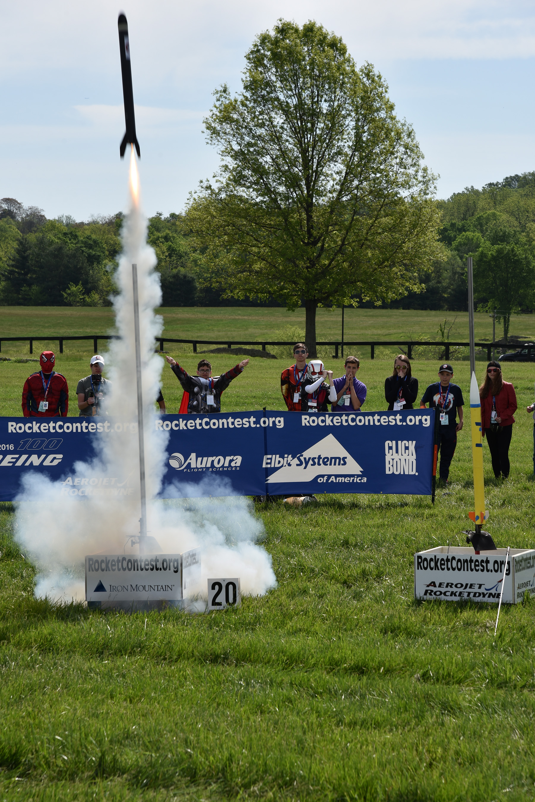 Students launch homemade rockets at the Team America Rocketry Challenge (TARC) National Finals in The Plains, V.A.