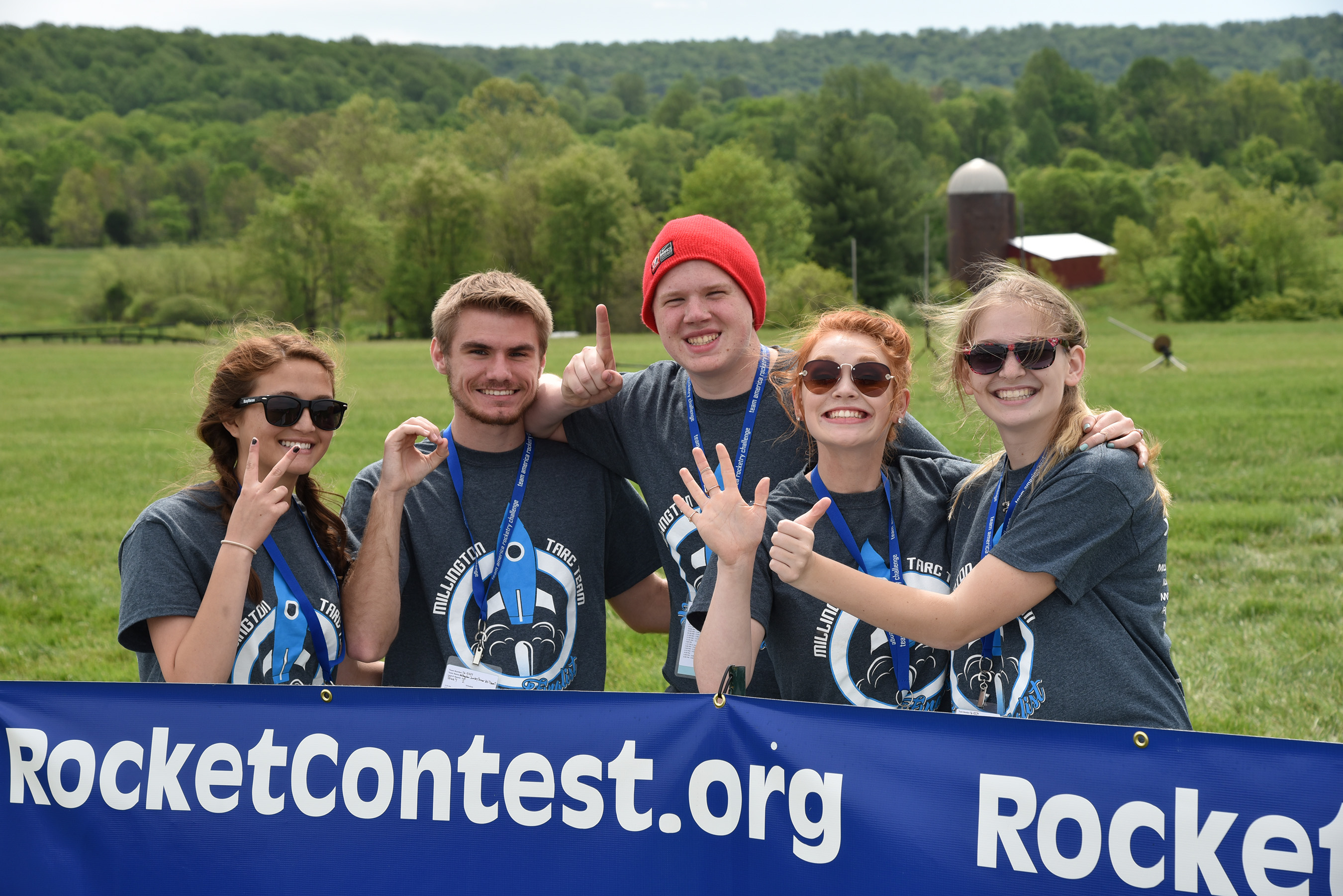 Teammates pose at the 14th annual Team America Rocketry Challenge (TARC) National Finals at Great Meadow in The Plains, V.A.