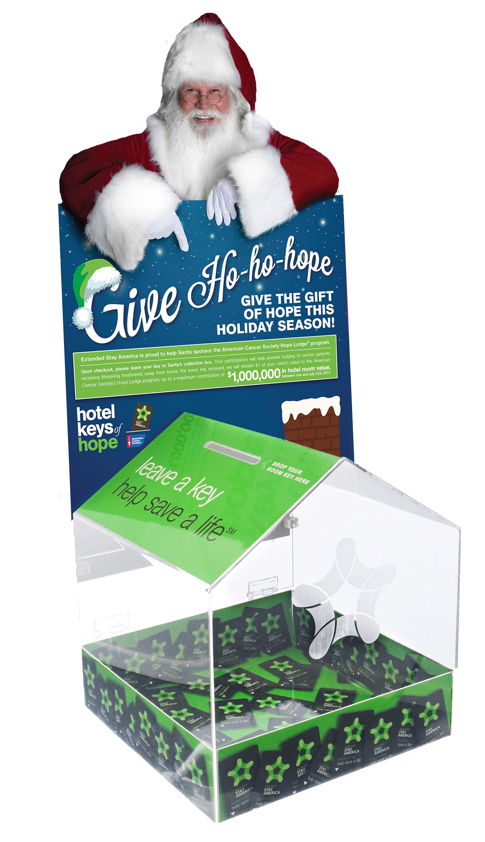 Leave a key, help save a life.™ donation boxes in every hotel encourage guests to Give Ho-ho-hope and participate in room donation program with the America Cancer Society.