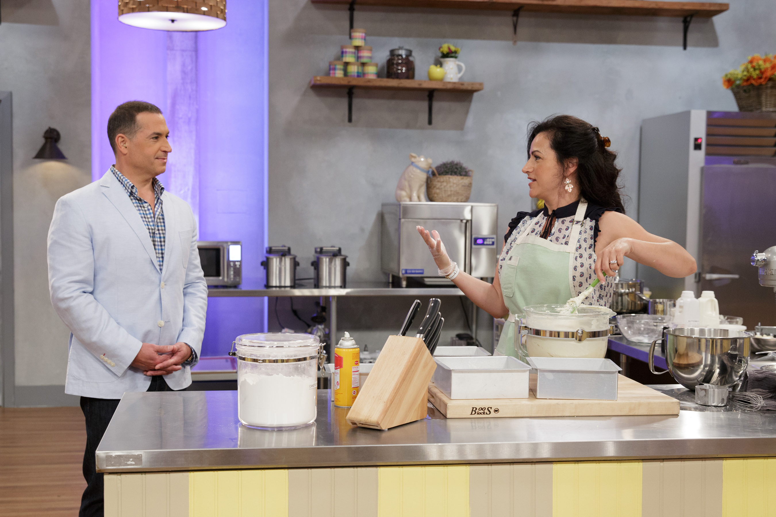 Host Bobby Deen with Contestant Audrey McGinnis on Food Network's Spring Baking Championship