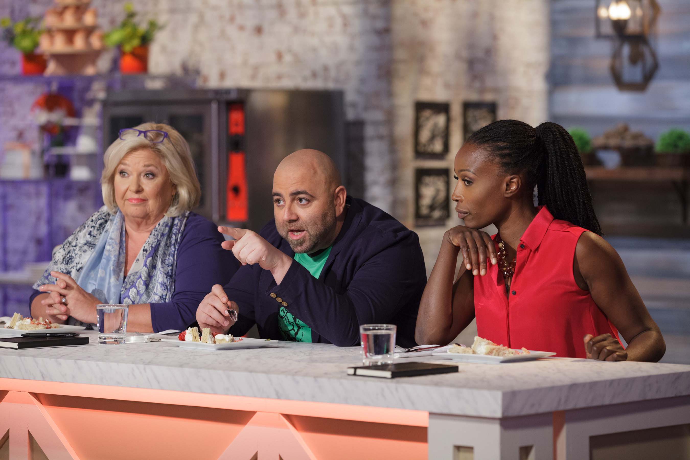 Judges Nancy Fuller, Duff Goldman and Lorraine Pascale on Food Network's Spring Baking Championship