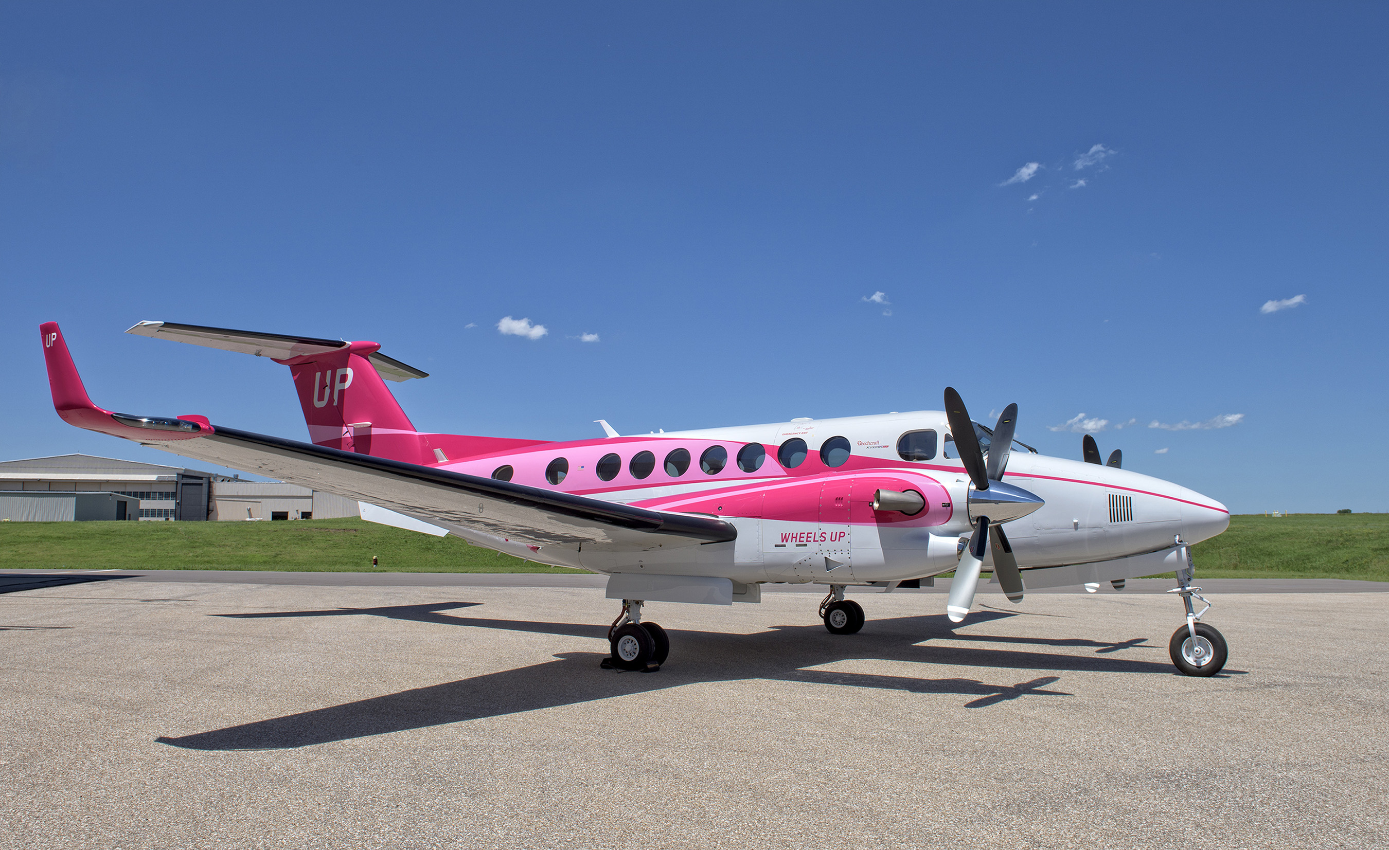 The Wheels Up Pink Plane is the first-ever pink Beechcraft King Air 350i. Proceeds benefit the Dubin Breast Center at Mount Sinai in New York City.