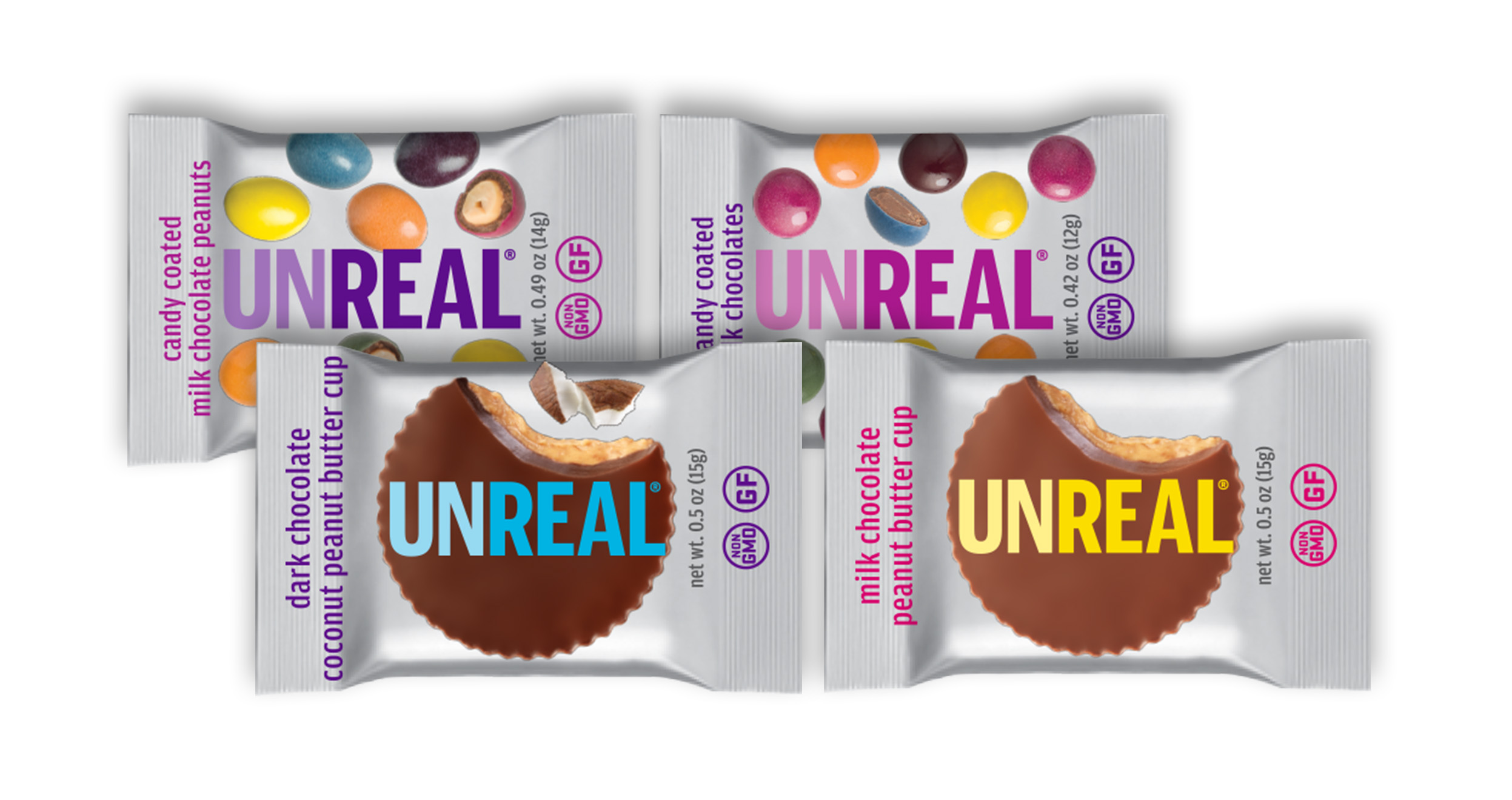 4 snack sized varieties of UnReal available in Halloween buckets and bags