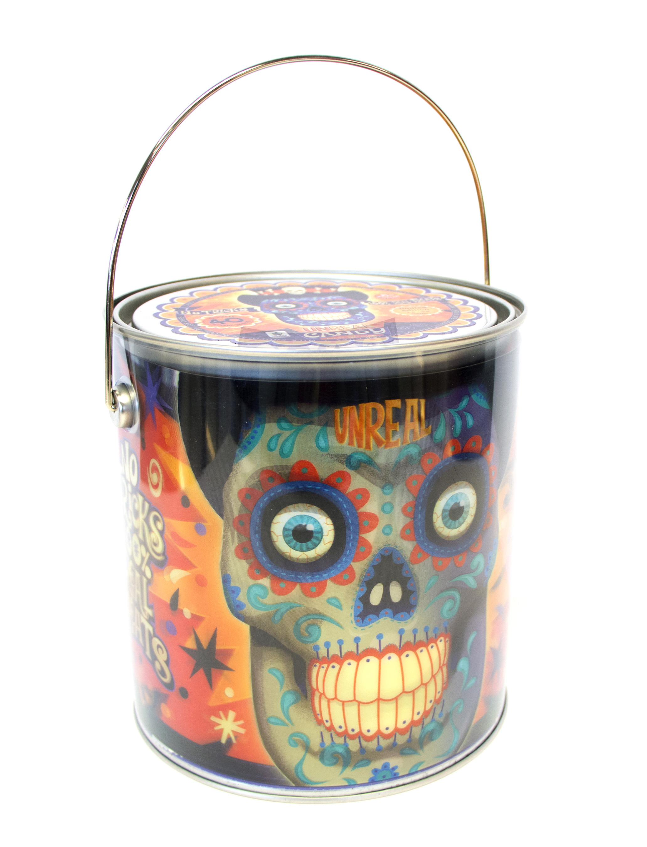 3-D Day of the Dead themed buckets with 40 snack size pieces of UnReal candy