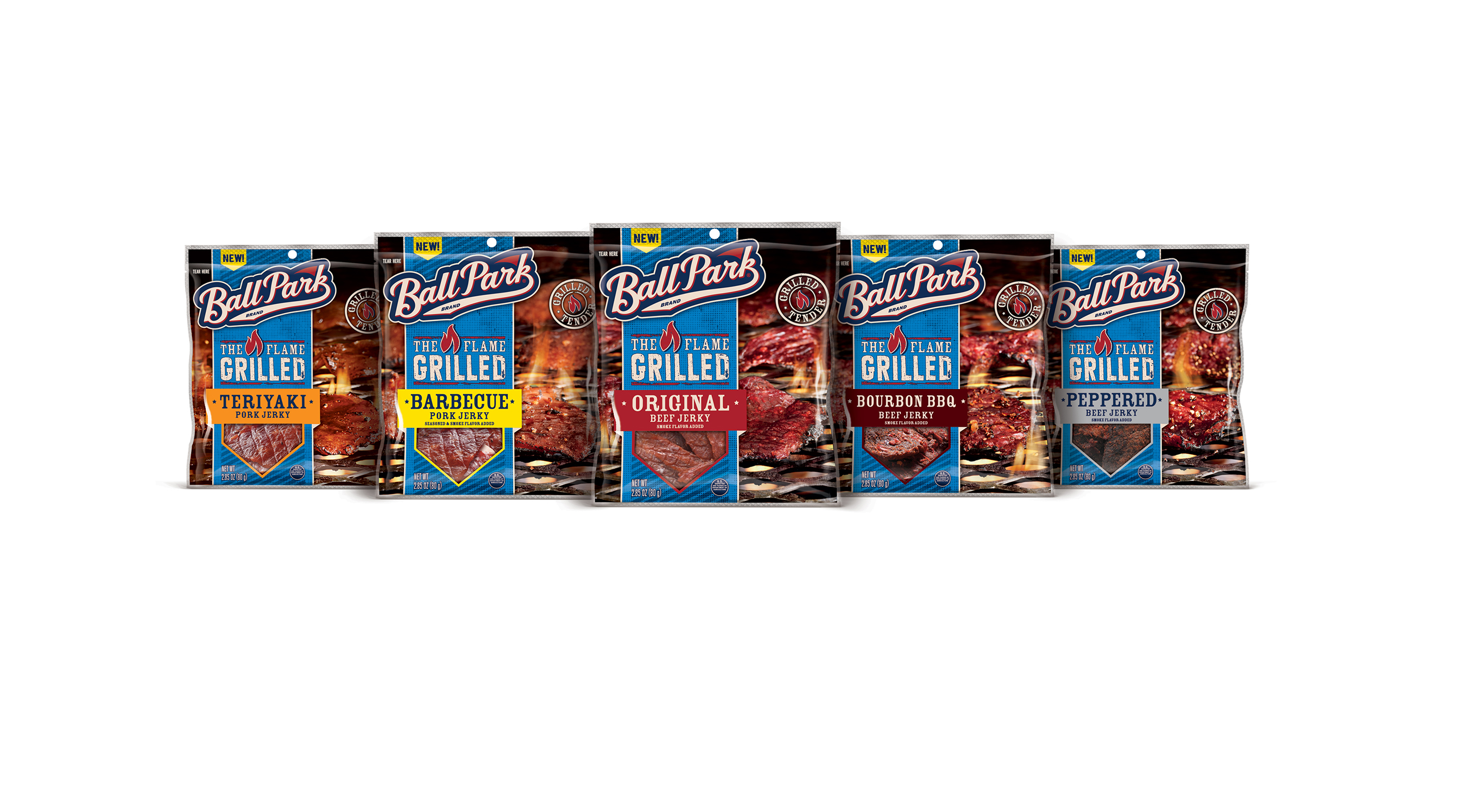Ball Park Flame Grilled Jerky is available in five delicious flavors including Original Beef, Bourbon BBQ Beef, Peppered Beef, Barbecue Pork, and Teriyaki Pork