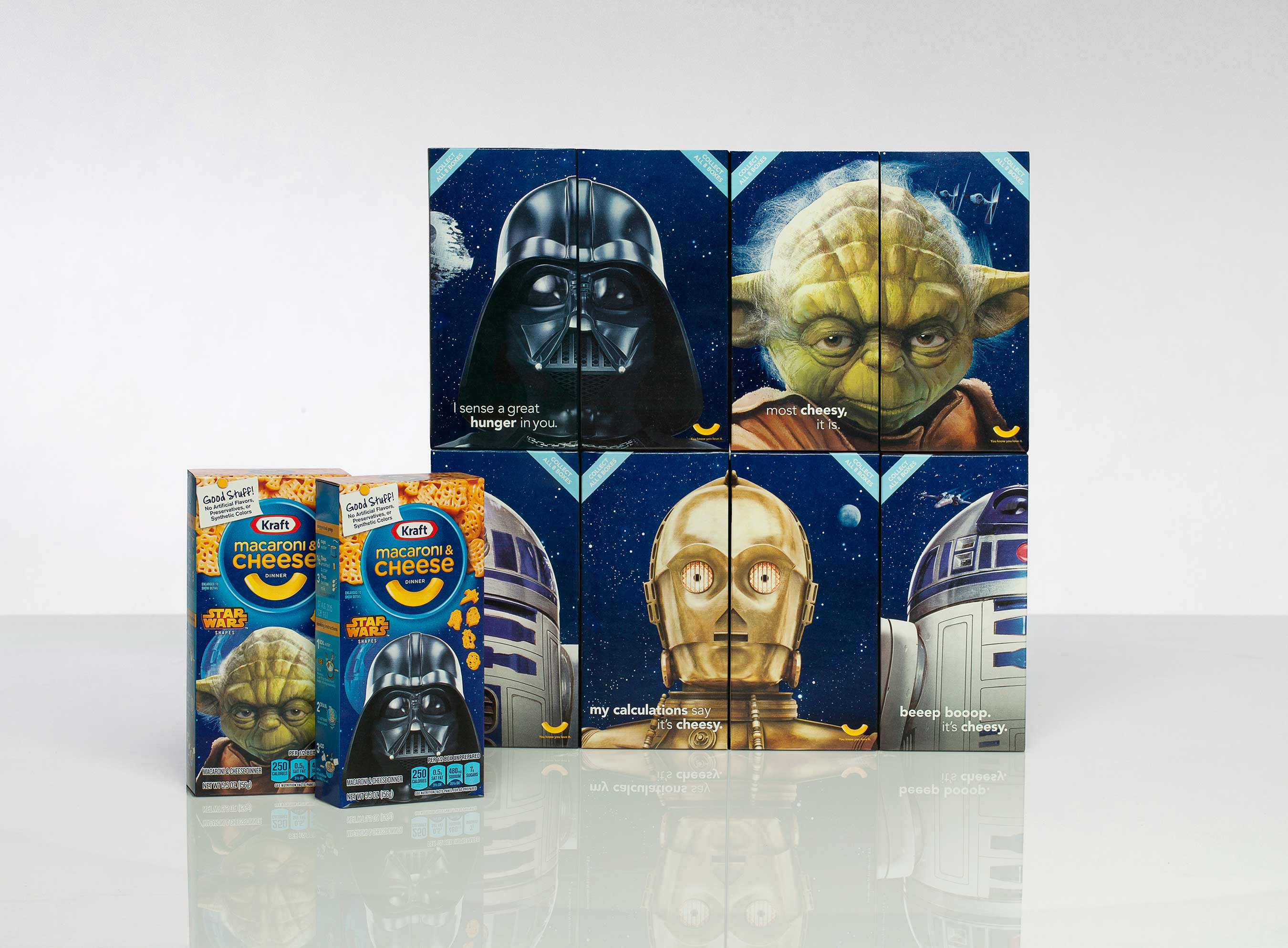 Featuring left and right faces of Yoda, Darth Vader, R2D2 and C3PO, fans can add the character boxes on shelves now to their collections.