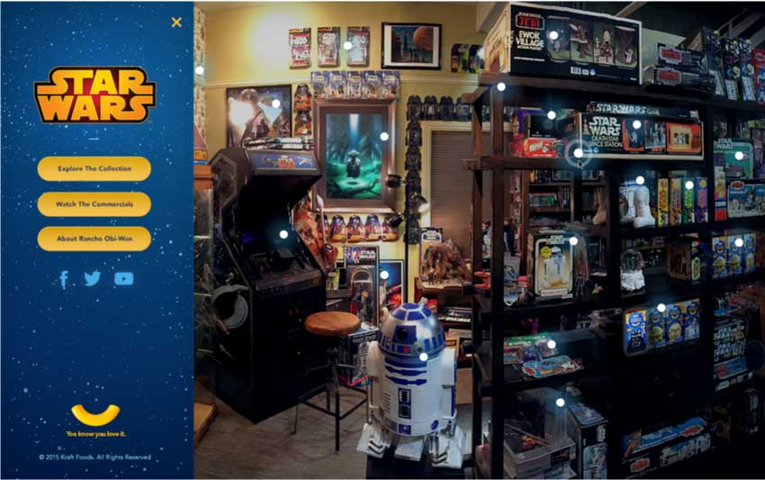 Explore the largest collection of memorabilia ever seen on a TV commercial in the NEW interactive KRAFT Star Wars Room.