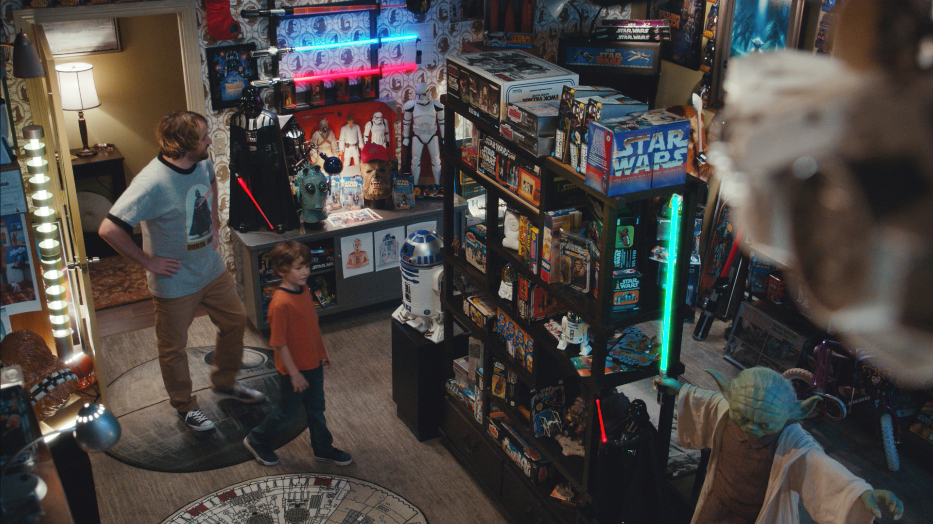 In the new commercials, a father shows his son his secret Star Wars Room for the first time and highlights one key item in his collection, the Star Wars KRAFT Macaroni & Cheese character boxes.