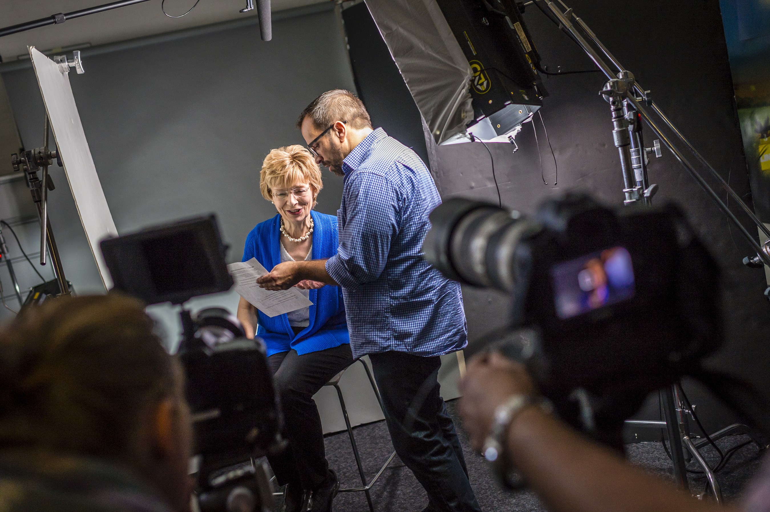 Metastatic Breast Cancer Advocate and Patient, Shirley Mertz shares a joke with AgencyRx's VP, Group Copy Supervisor, Jeffery Forester - Photographer: Angelo Merendino