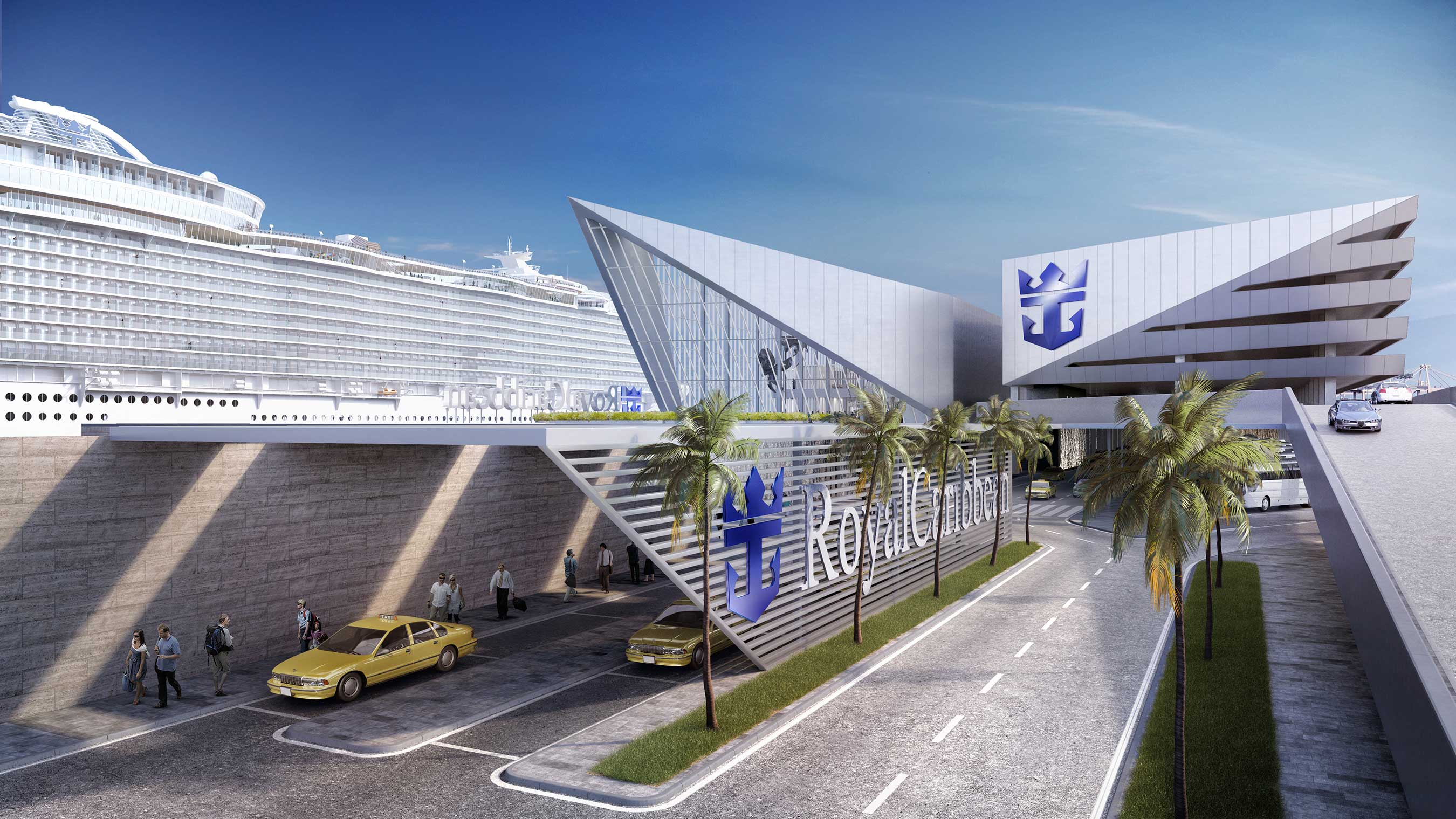 Royal Caribbean's new terminal will homeport an 5,400-passenger Oasis-class ship. The iconic building is slated for late 2018.