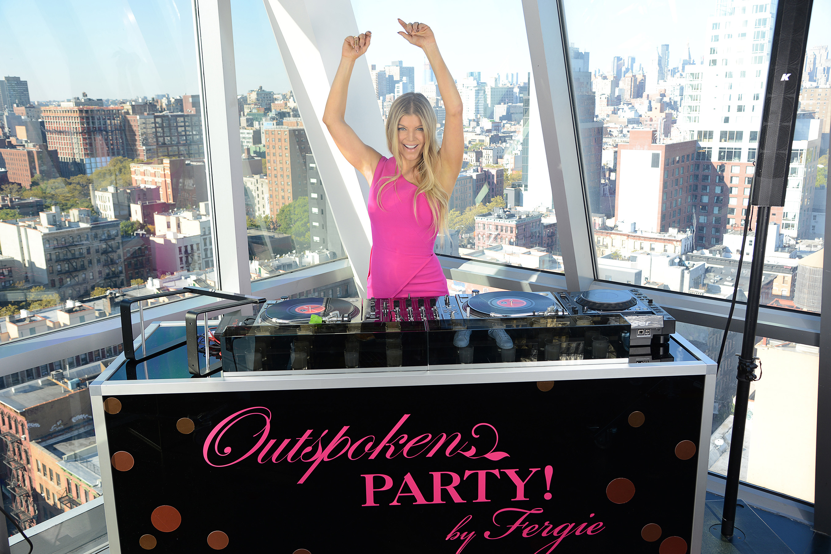 Global Brand Ambassador Fergie hits the DJ booth in New York City at the launch of the her new Avon fragrance, Outspoken Party! by Fergie