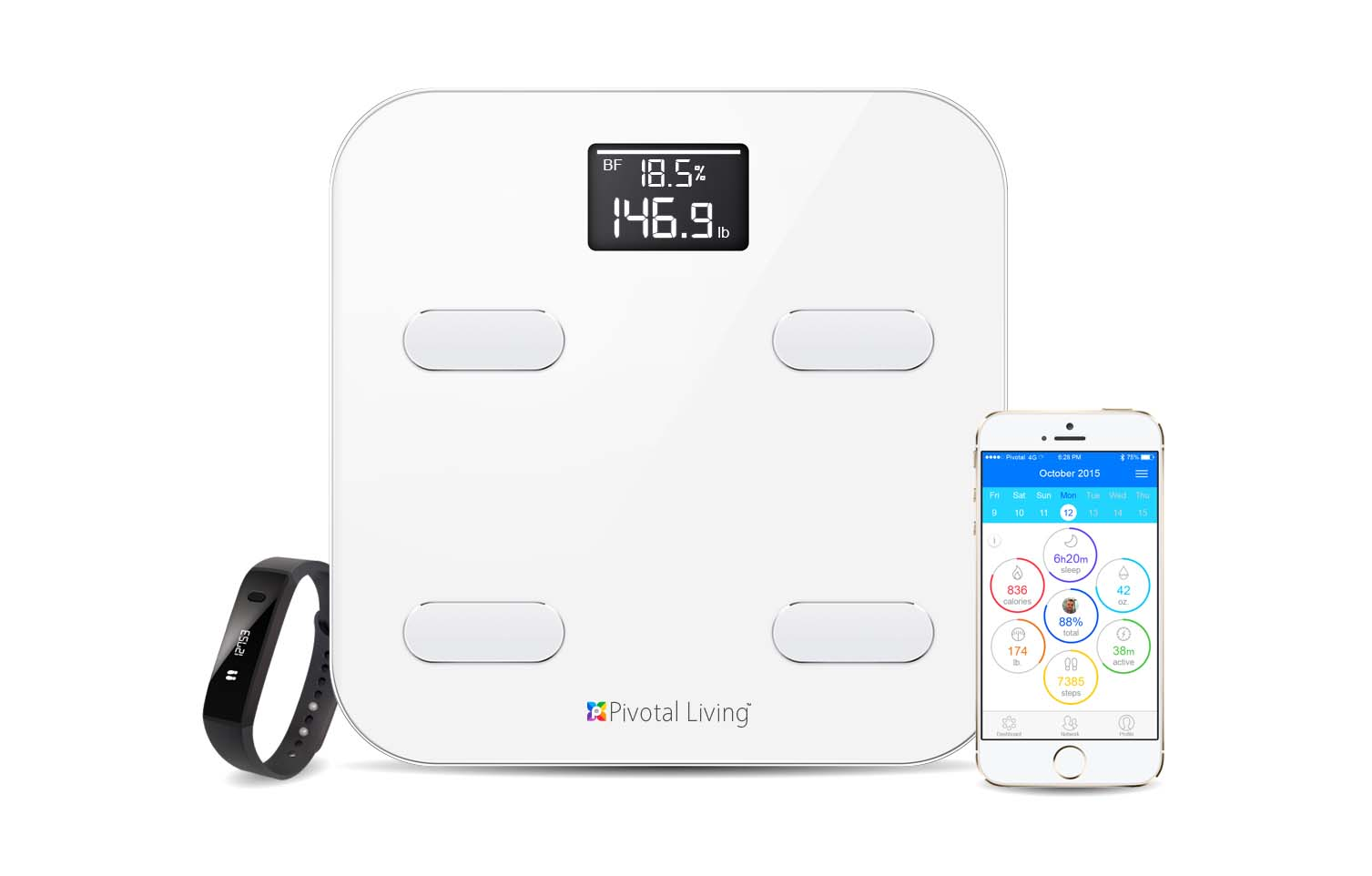 Use the Smart Scale in conjunction with the Pivotal Living Band (MSRP $12) to track daily efforts toward your goals.